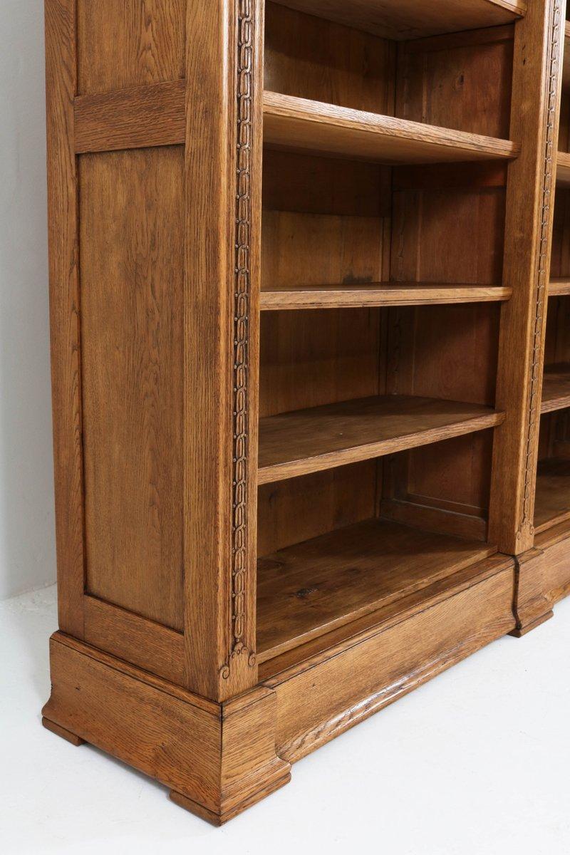 gro es niederl ndisches jugendstil b cherregal aus eiche 1900er bei pamono kaufen. Black Bedroom Furniture Sets. Home Design Ideas