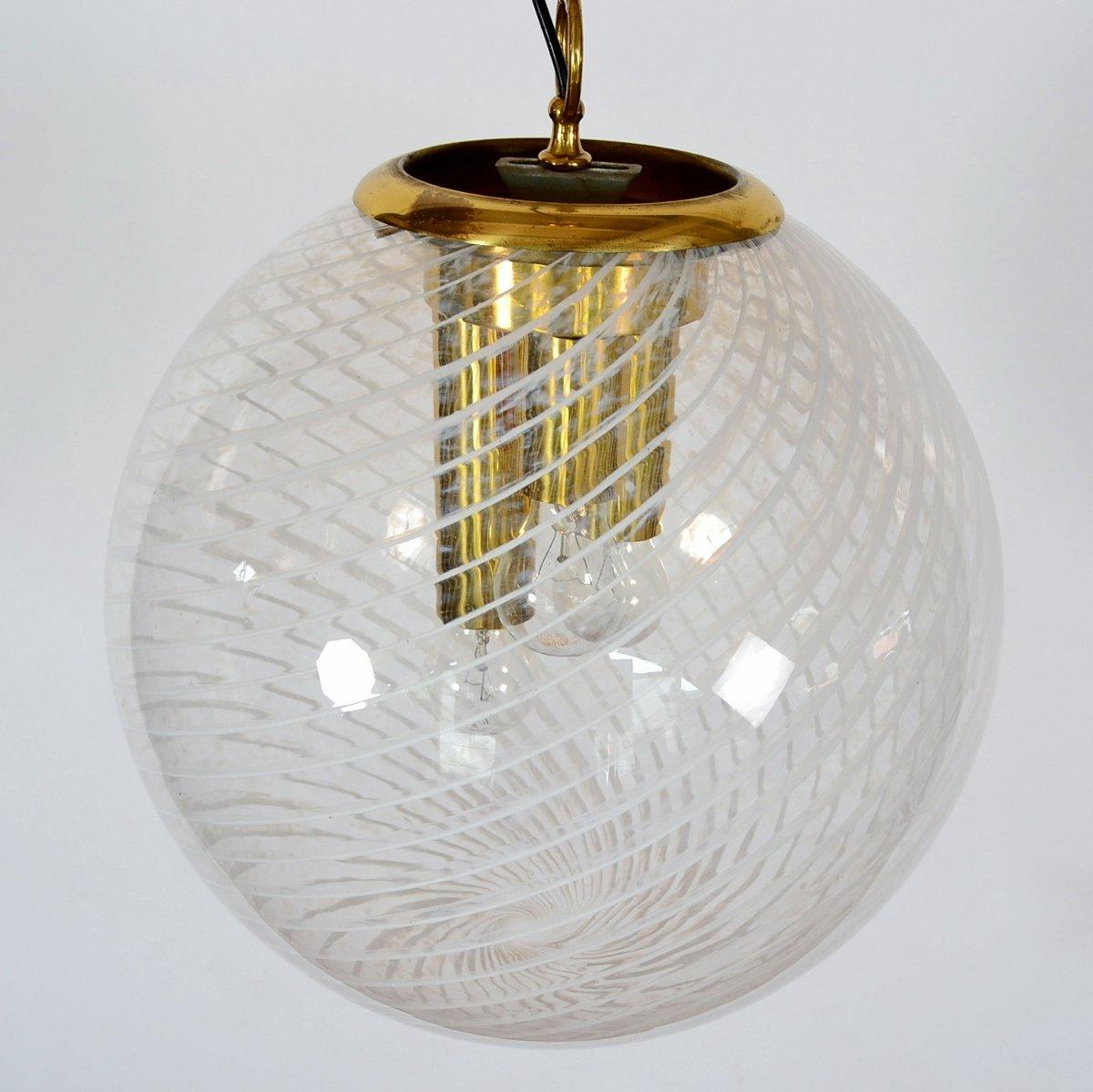 Sphärische Murano Glas Hängelampe von Venini, 1960er