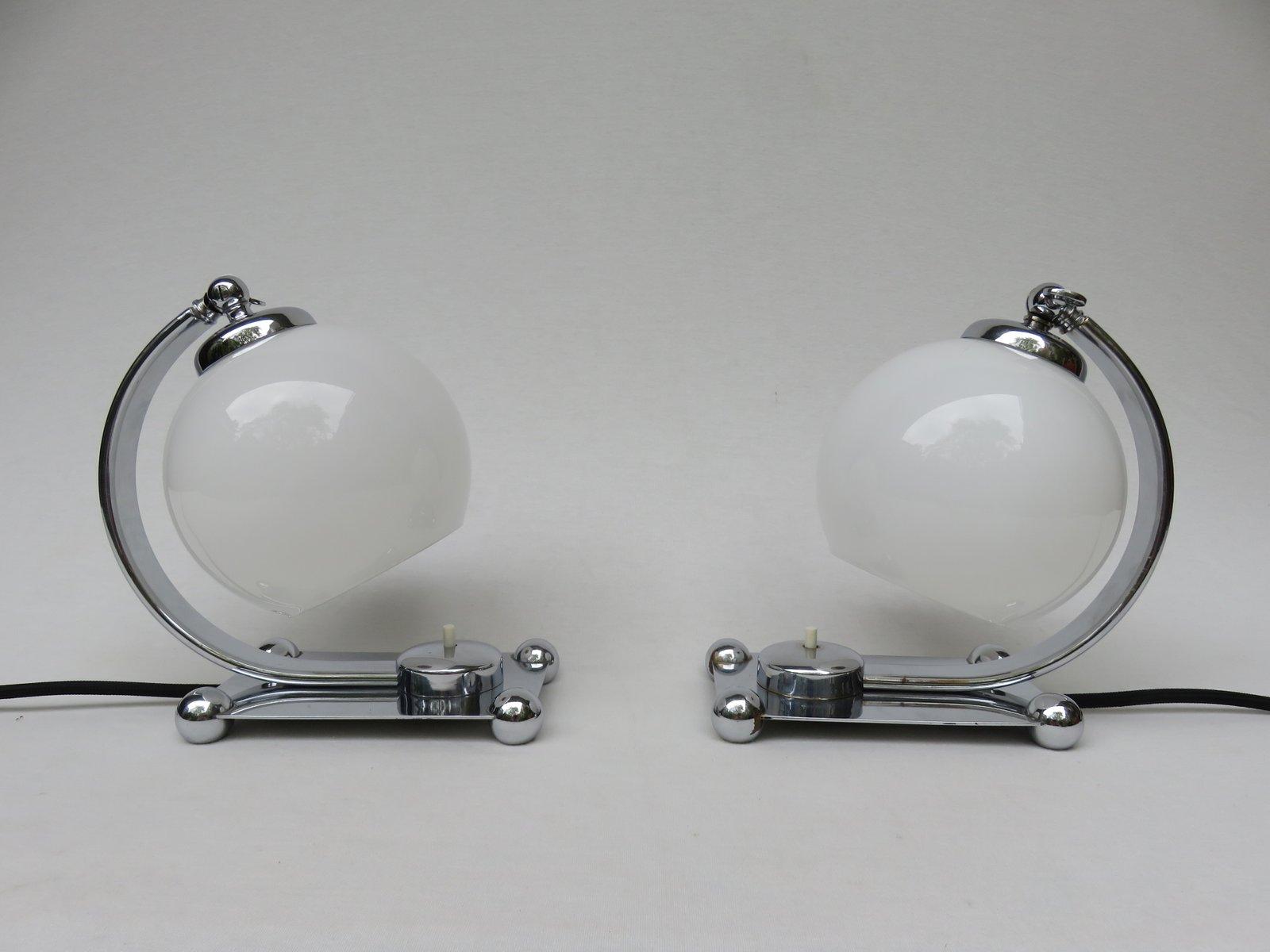Verchromte Vintage Art Deco Tischlampen, 2er Set