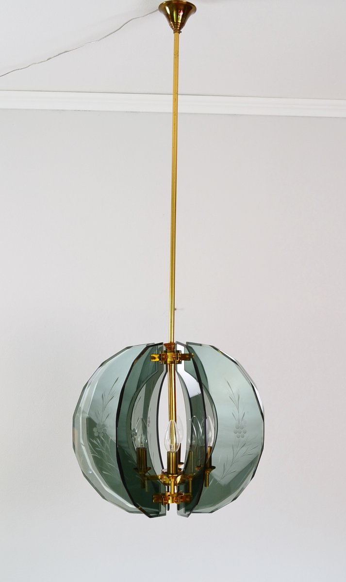 Mid century italian brass and green cut glass chandelier 1950s for mid century italian brass and green cut glass chandelier 1950s aloadofball Gallery
