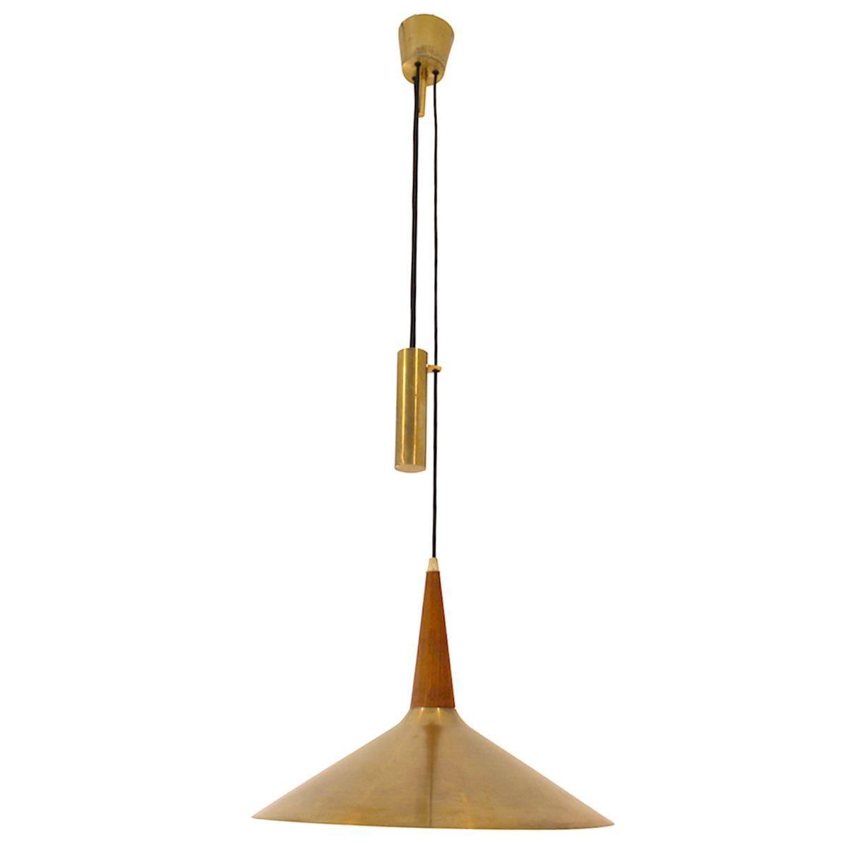 Vintage Deckenlampe aus Teak-Furnier und Messing