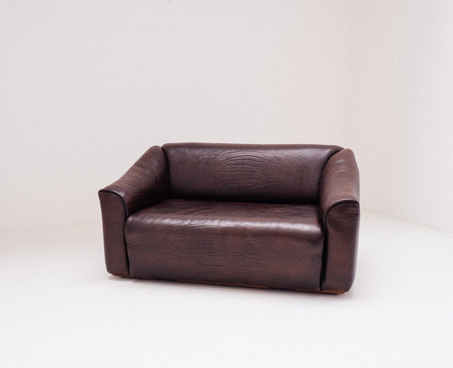 Schokoladenbraunes DS 47 2-Sitzer Sofa von de Sede, 1970er