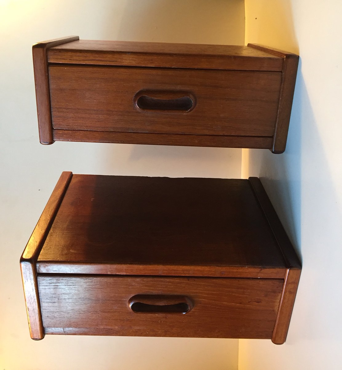 Danish Modern Floating Teak Bedside Tables 1960s Set Of