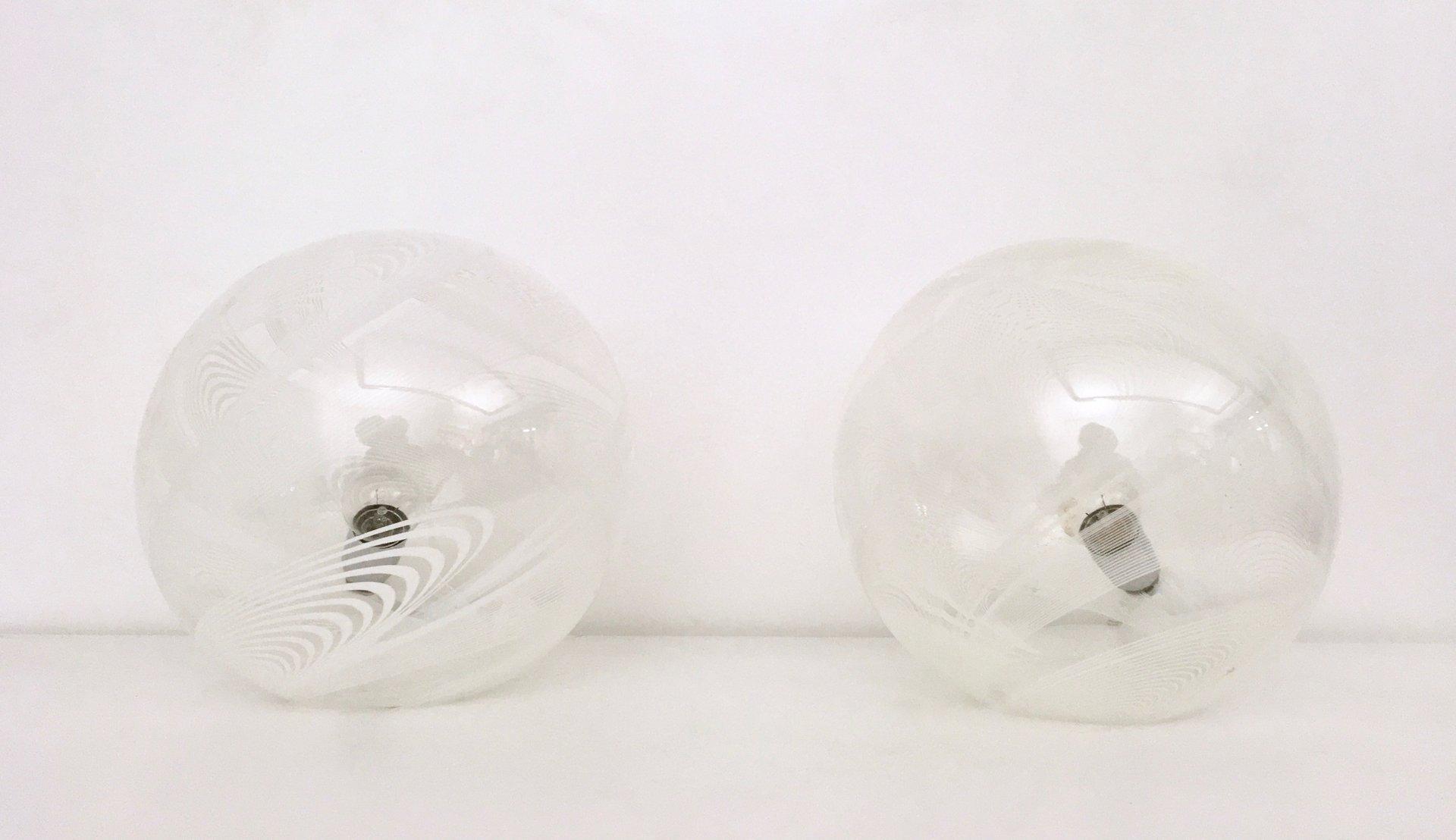 Runde Tischlampen aus Mundgeblasenem Glas, 1970er, 2er Set