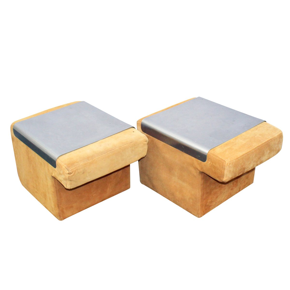 sofa endst cke aus wildleder und edelstahl 1970er 2er set bei pamono kaufen. Black Bedroom Furniture Sets. Home Design Ideas