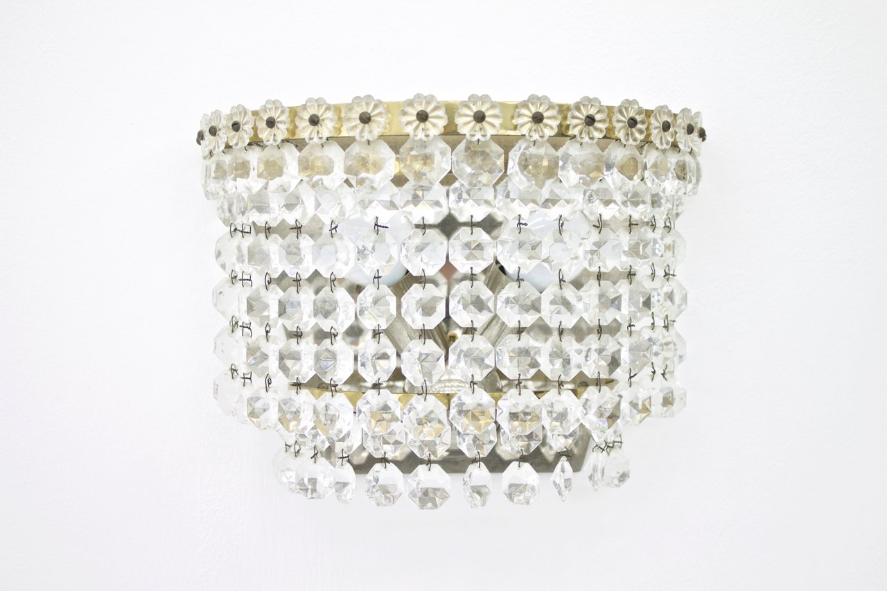 Kristallglas Wandlampen von Bakalowits & Sohne, 1960er, 4er Set