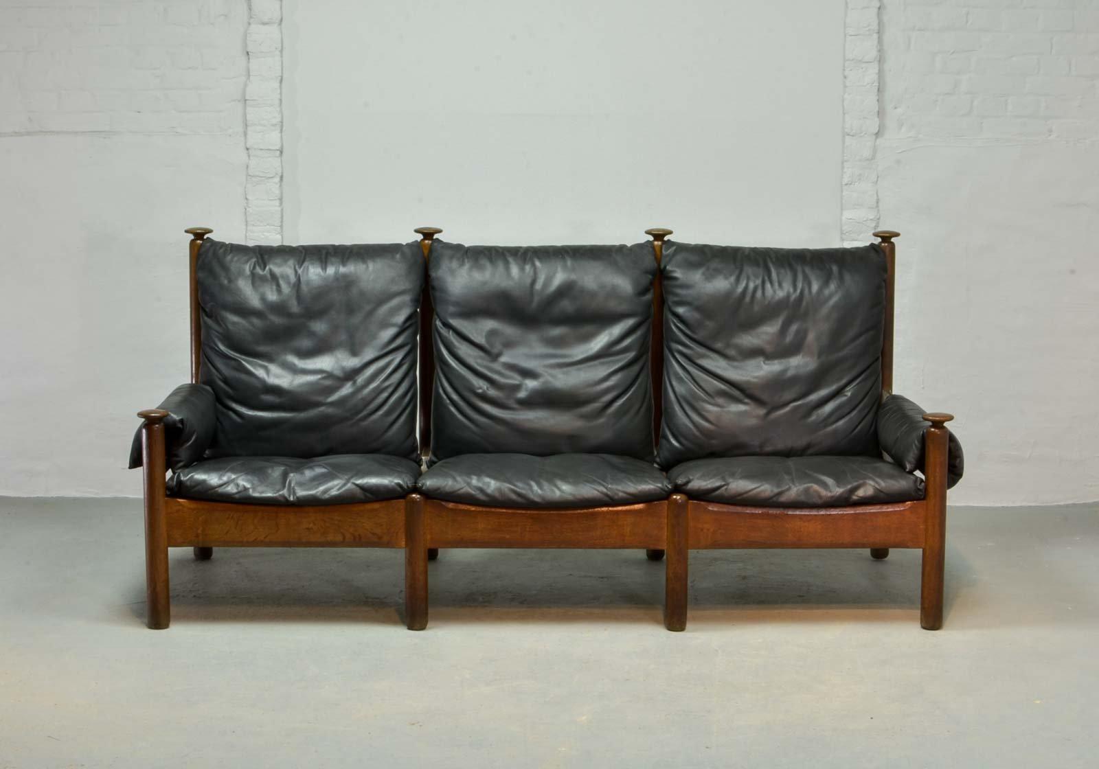 canap trois places scandinave en cuir noir 1960s en vente sur pamono. Black Bedroom Furniture Sets. Home Design Ideas