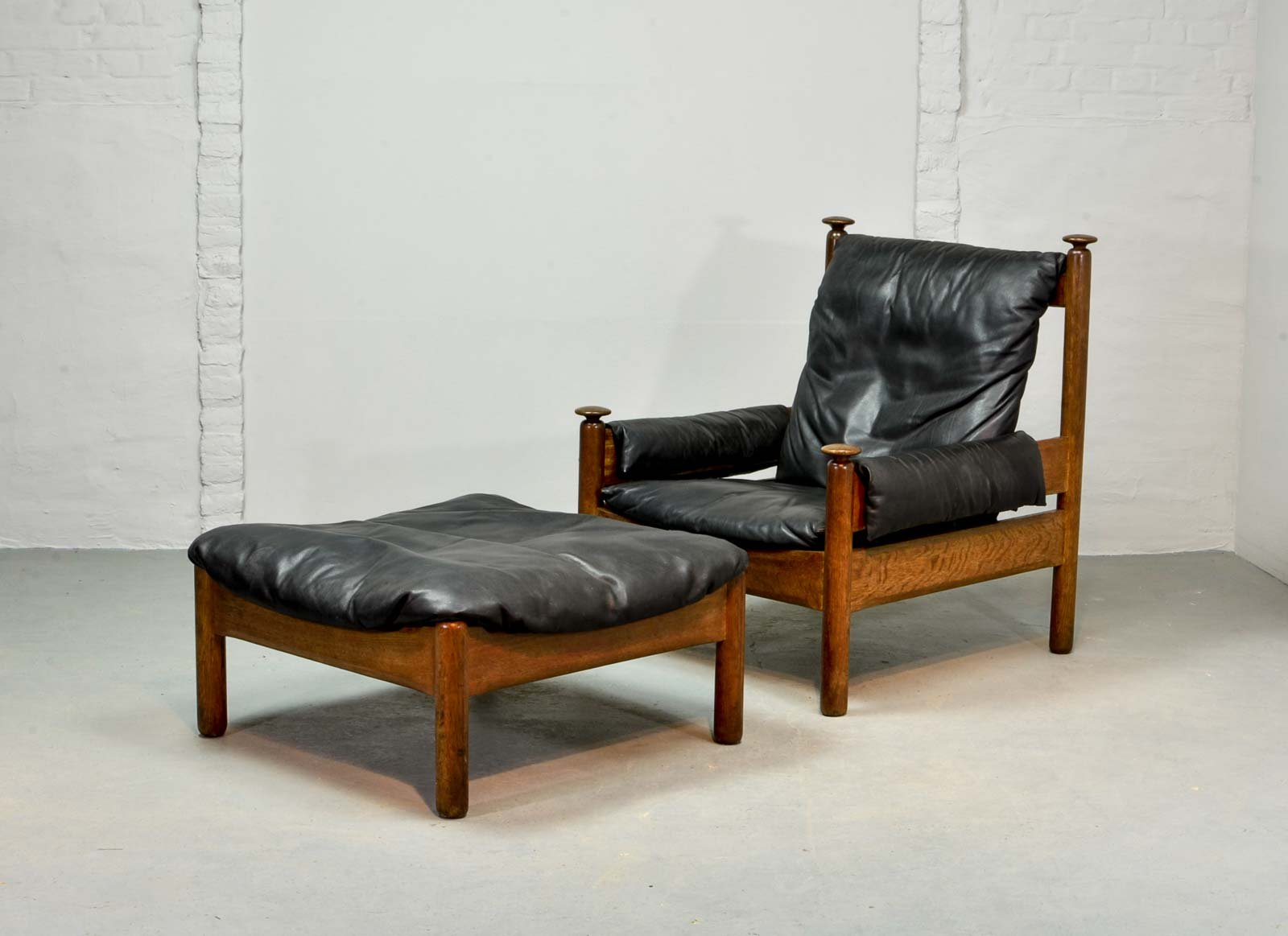 Scandinavian Black Leather Lounge Chair Ottoman 1960s For Sale At