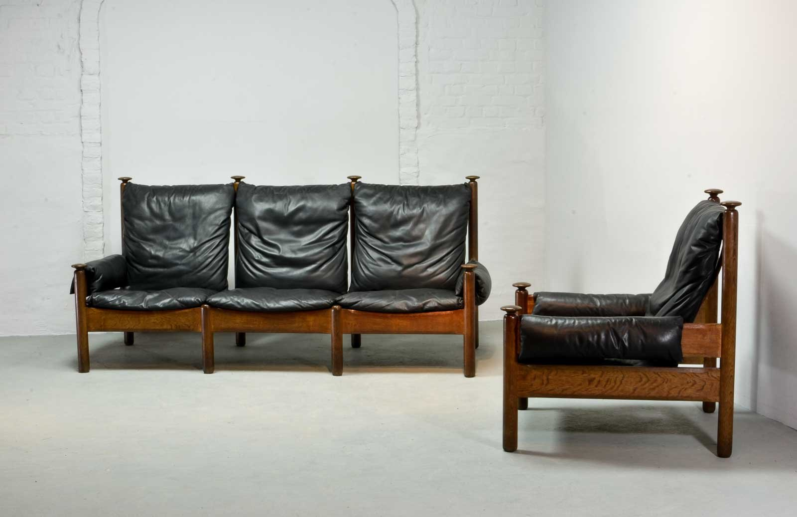Mid Century Scandinavian Black Leather Sofa Set 1960s