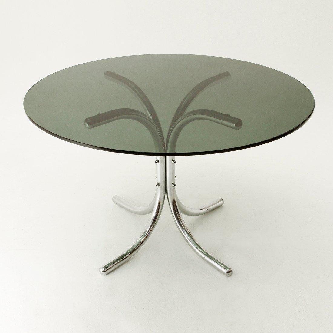 Italienischer Verchromter Esstisch mit Glasplatte, 1970er