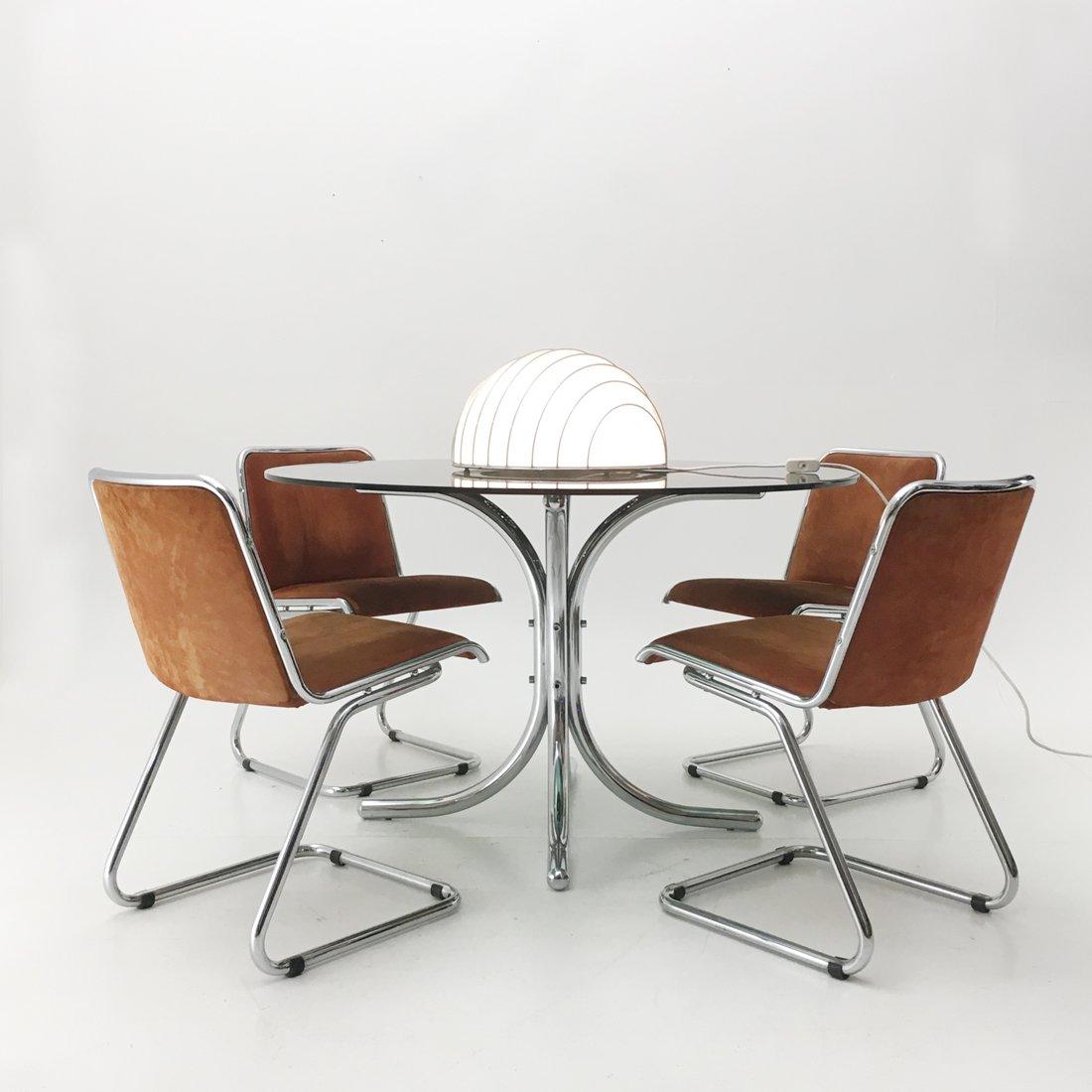 Italienischer verchromter esstisch mit glasplatte 1970er for Esstisch italienischer stil