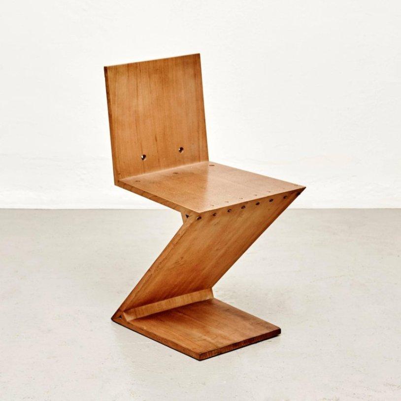 Vintage zig zag stuhl von gerrit rietveld f r metz co for Design stuhl zig zag