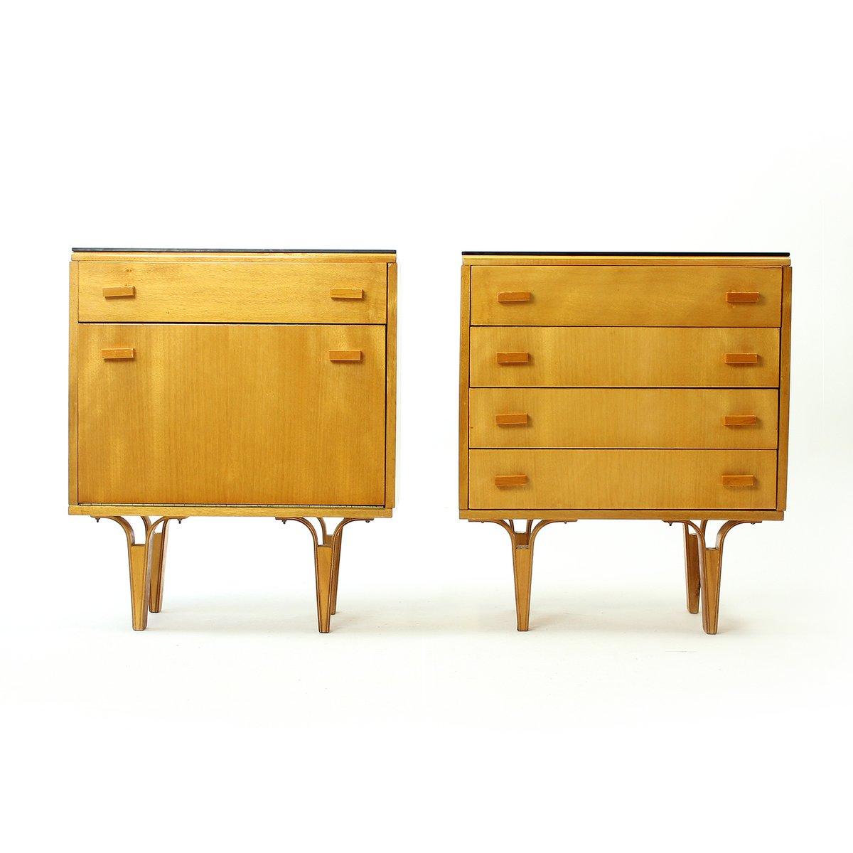 tables de chevet vintage en placage avec verre opaxite noir de novy domov 1960s. Black Bedroom Furniture Sets. Home Design Ideas