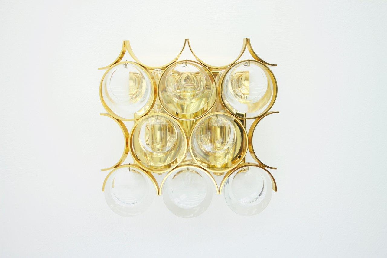 Wandleuchte aus Vergoldetem Messing & Kristallglas von Ernst Palme für...