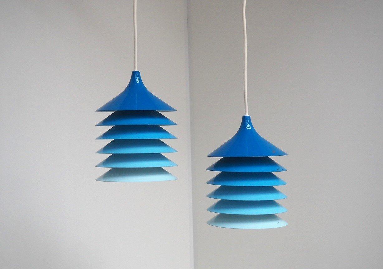 Blaue Duett Hängelampen von Bent Gantzel Boysen für Ikea, 1970er, 2er ...