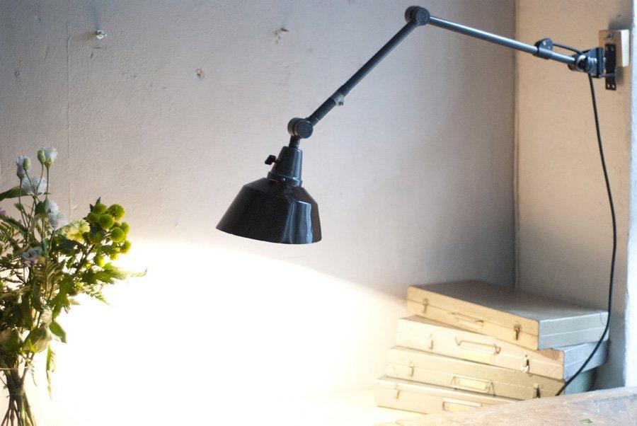 Grau-Blaue Vintage Gelenk Lampe von Curt Fischer für Midgard