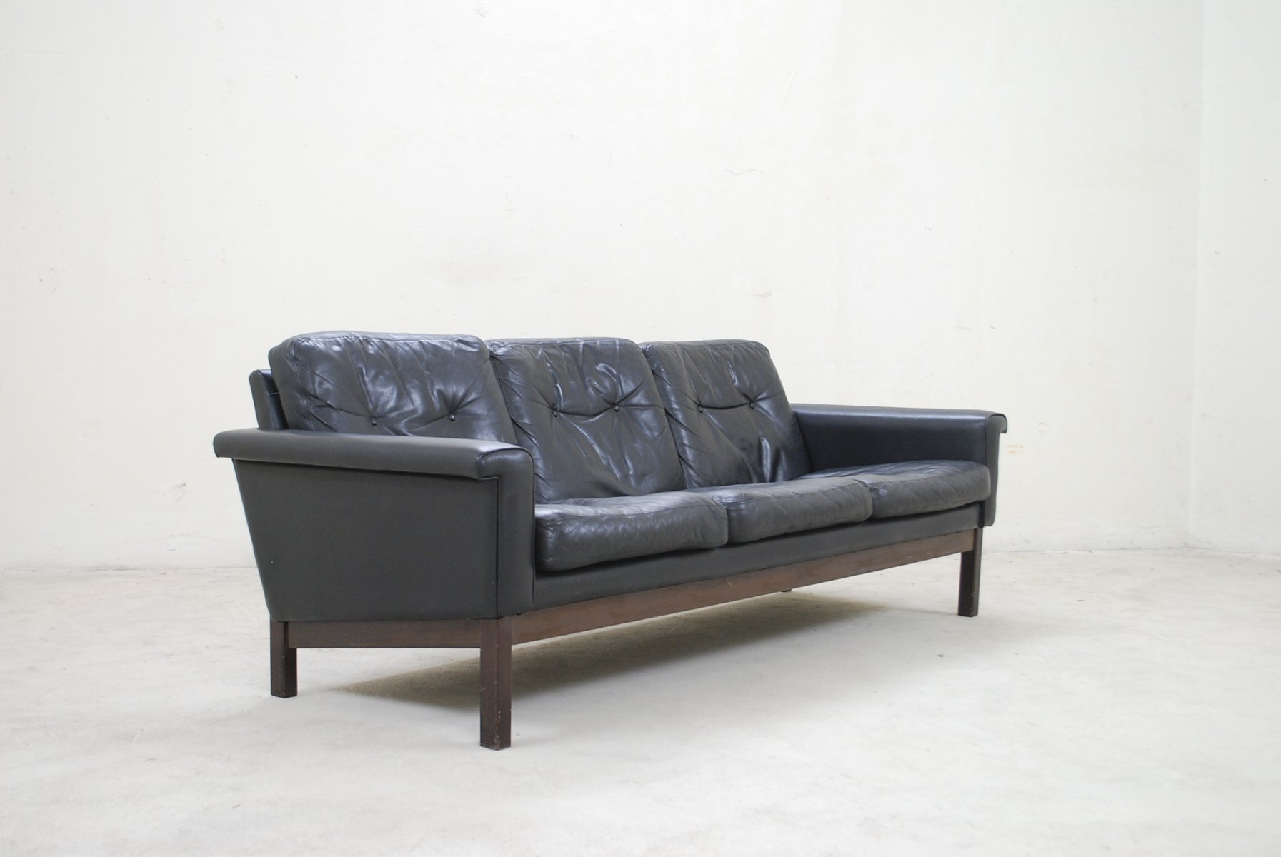 Vintage Black Leather Sofa From Asko