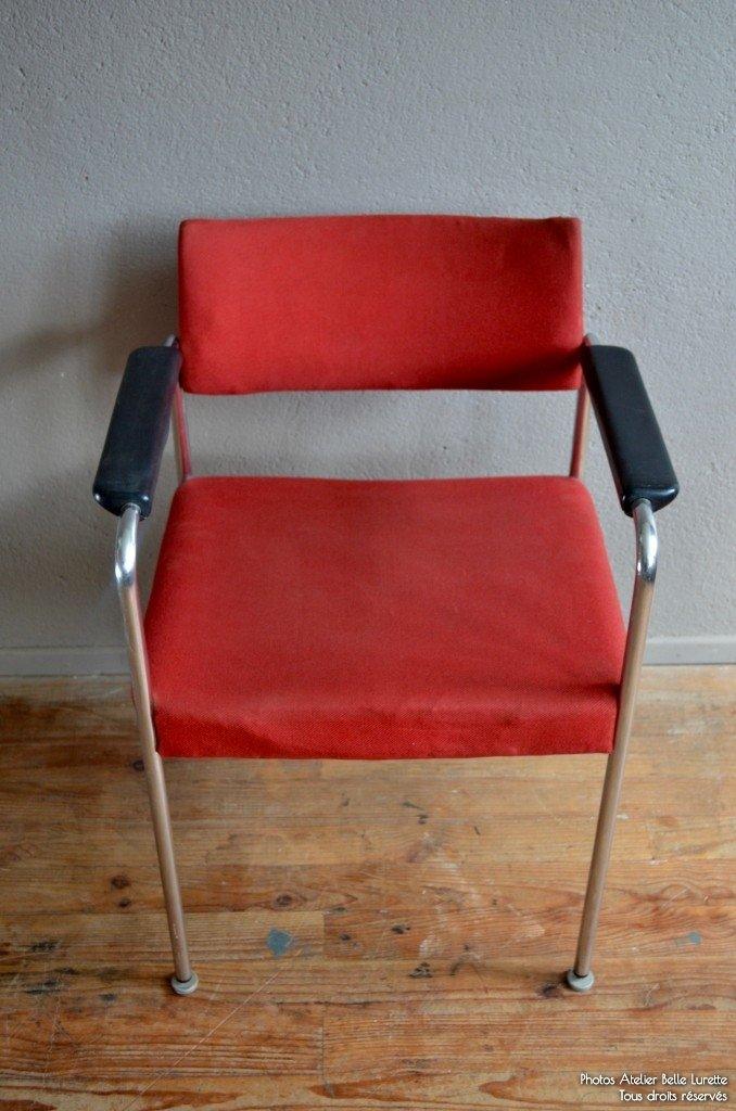 Sedia con fodera rossa di stoll giroflex anni 39 70 in for Sedia design anni 70