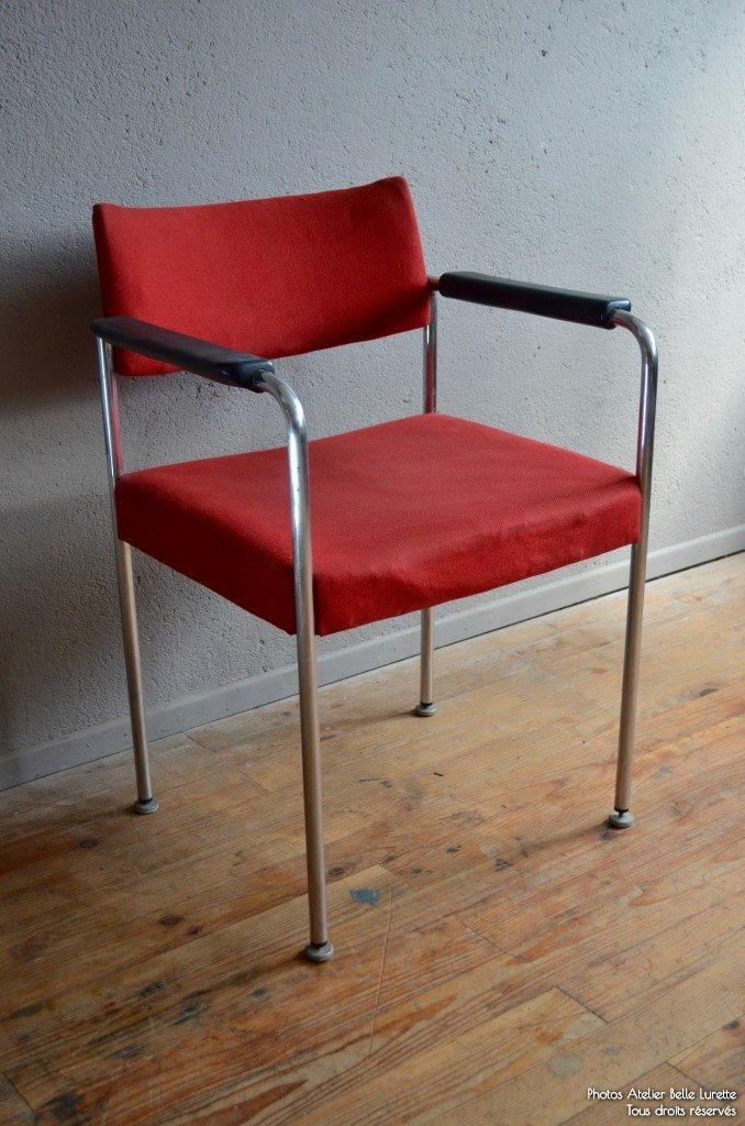 Red Upholstered Chair From Stoll Giroflex, 1970s