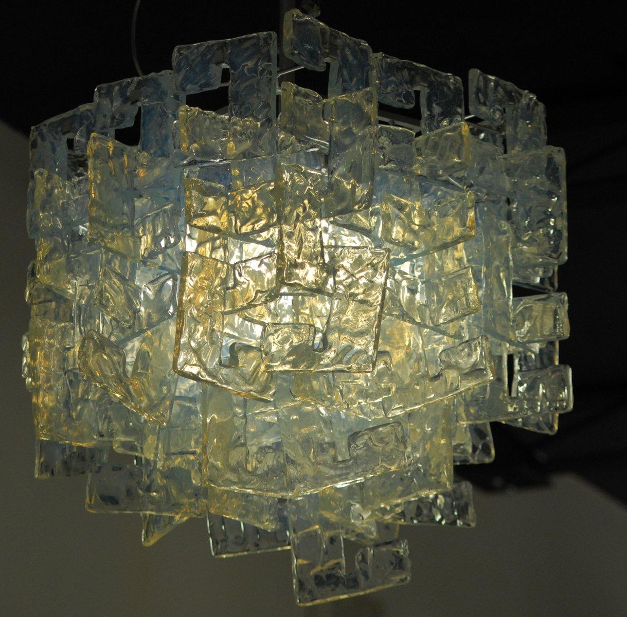 Modularer Opalglas Kronleuchter von Carlo Nason für Mazzega, 1960er