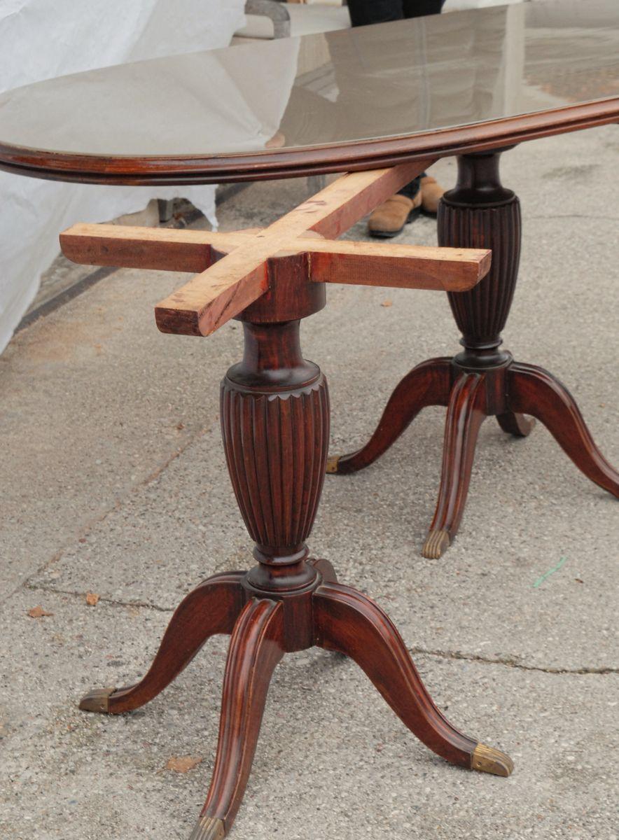 table de salle manger ovale vintage en acajou en vente sur pamono. Black Bedroom Furniture Sets. Home Design Ideas