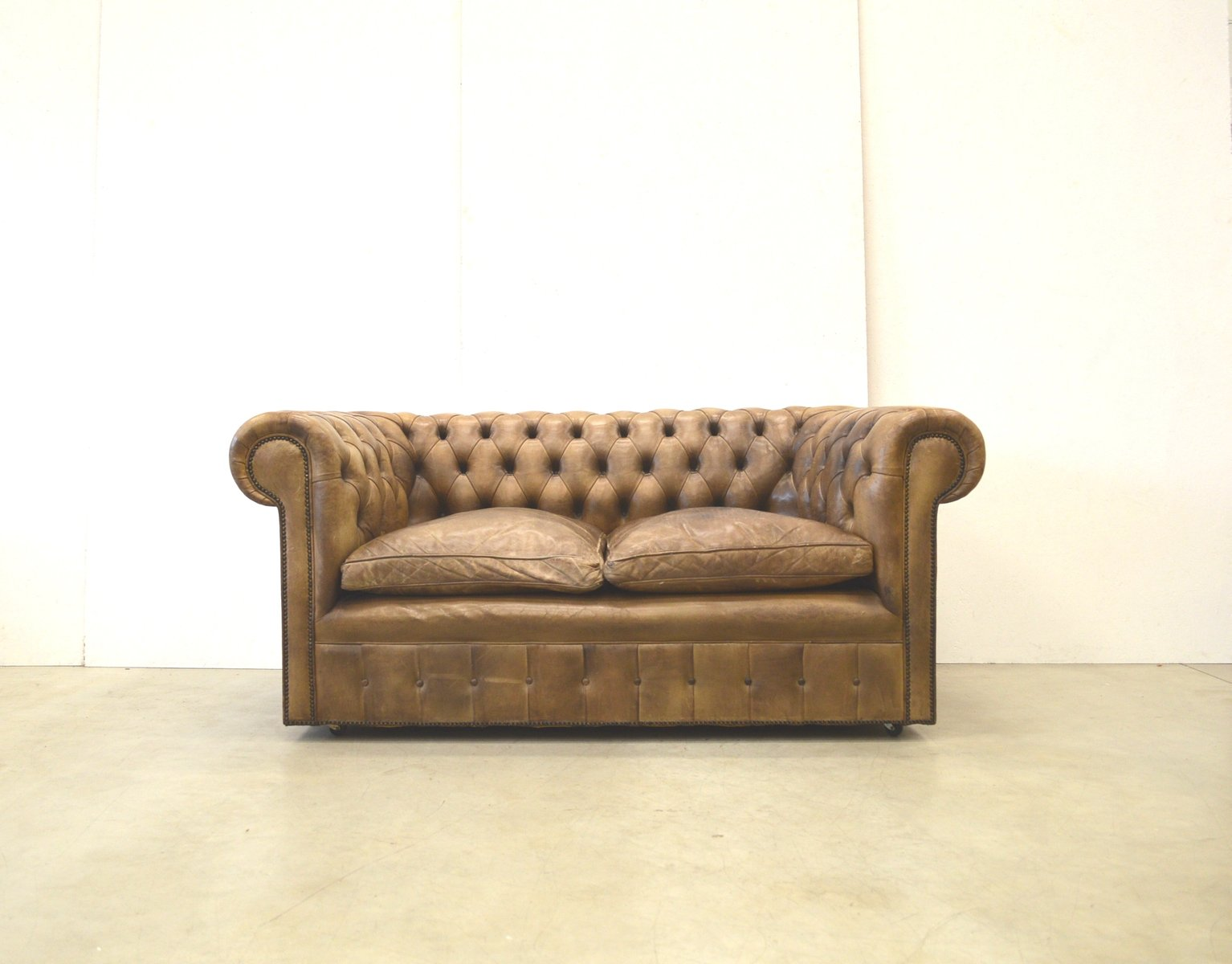 English Brown Leather Chesterfield Two Seater Sofa 1960s