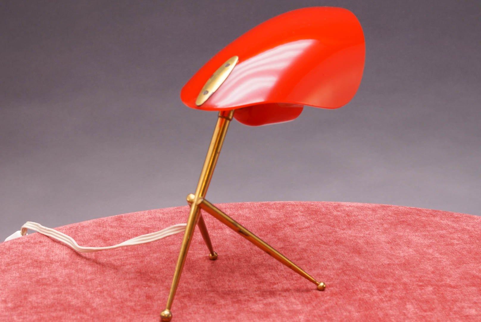 tischlampe mit rotem schirm 1950er bei pamono kaufen. Black Bedroom Furniture Sets. Home Design Ideas