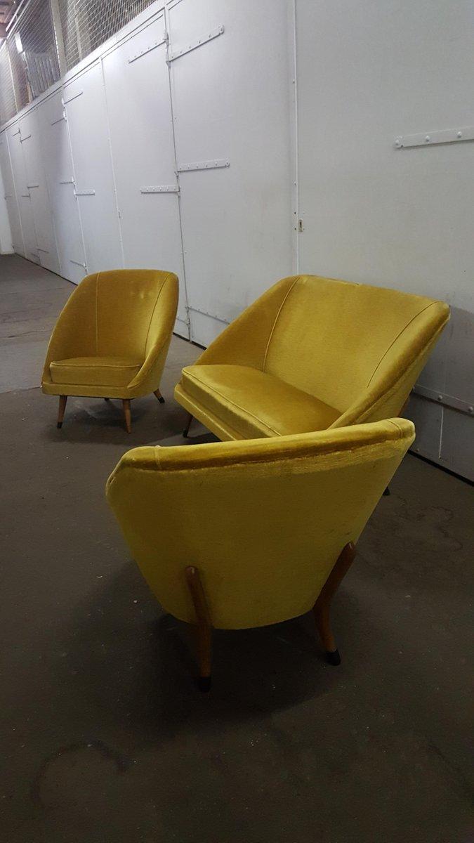 mid century sofa und sessel aus samt 3er set bei pamono kaufen. Black Bedroom Furniture Sets. Home Design Ideas