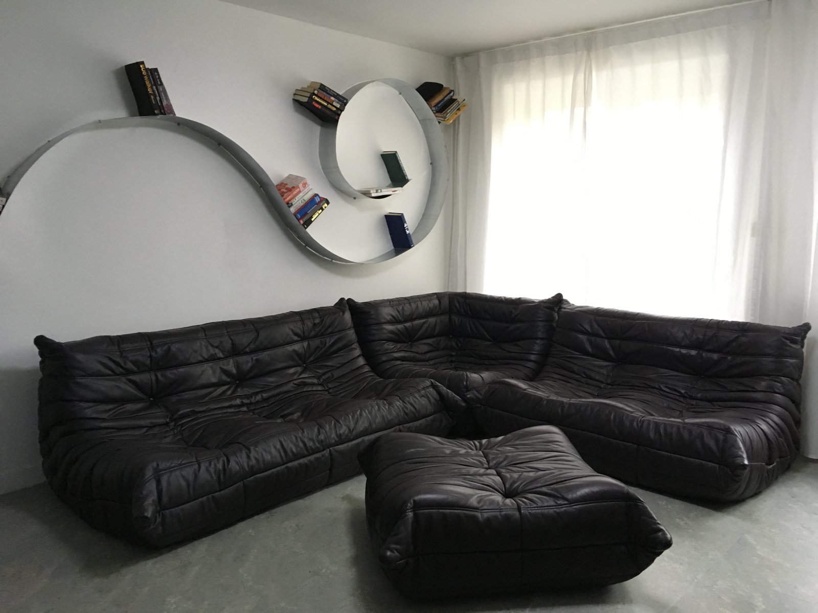 Vintage Choclate Brown Leather Togo Sofa Set By Michel Ducaroy For Ligne  Roset