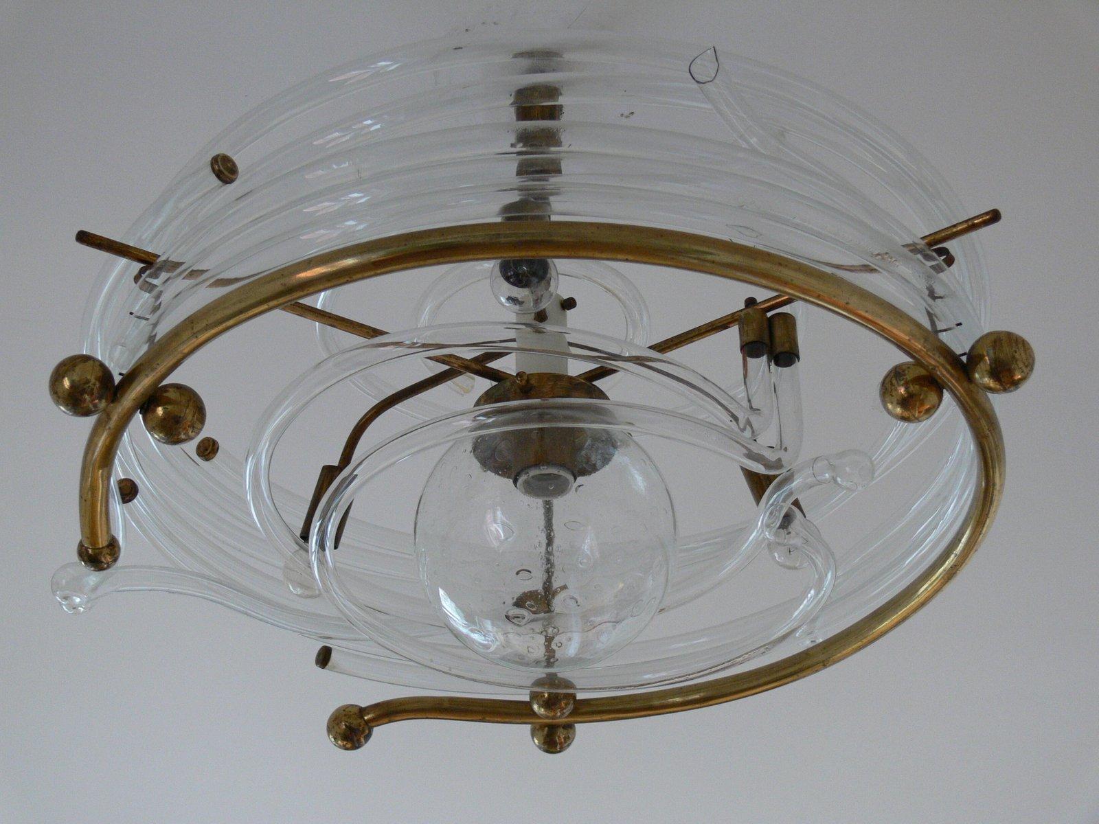 Vintage Glas & Messing Deckenlampe