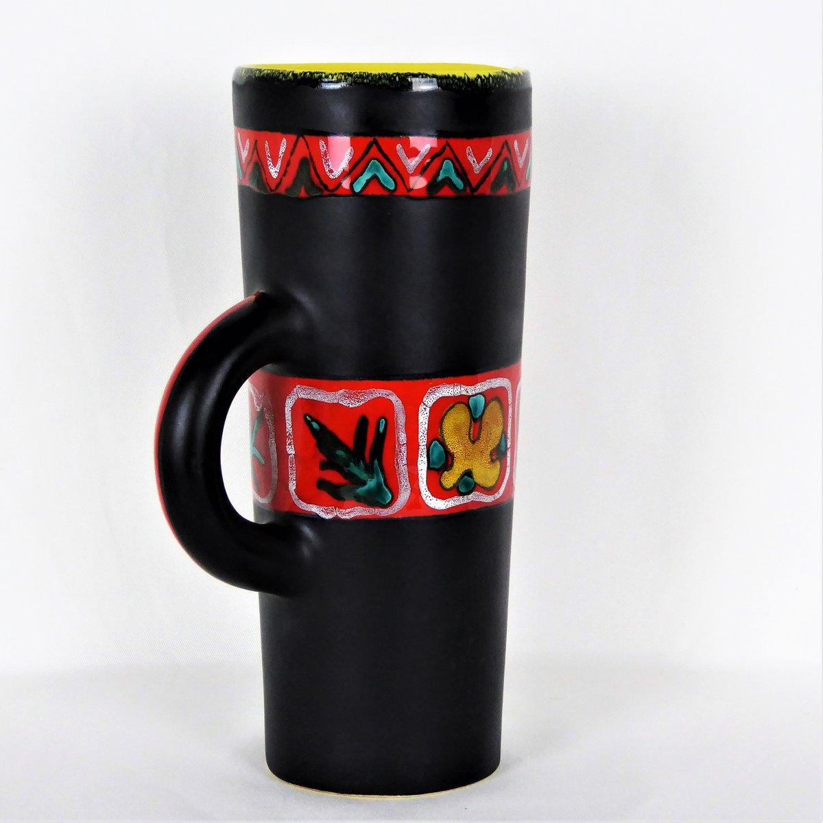 schwarze vase aus keramik von gabriel fourmentin 1950er bei pamono kaufen. Black Bedroom Furniture Sets. Home Design Ideas