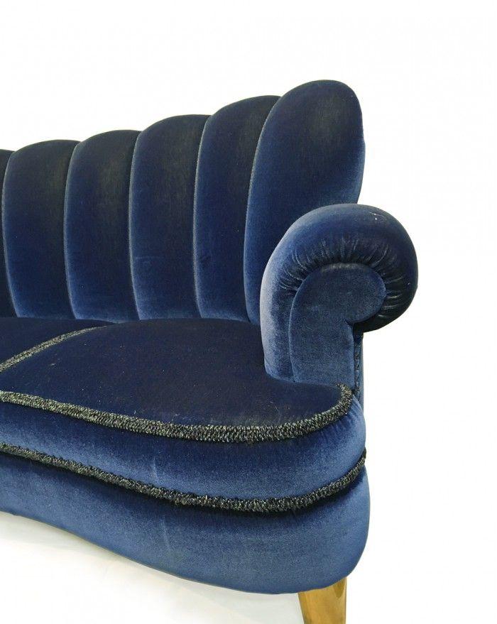 schwedisches blaues sofa aus samt 1950er bei pamono kaufen. Black Bedroom Furniture Sets. Home Design Ideas