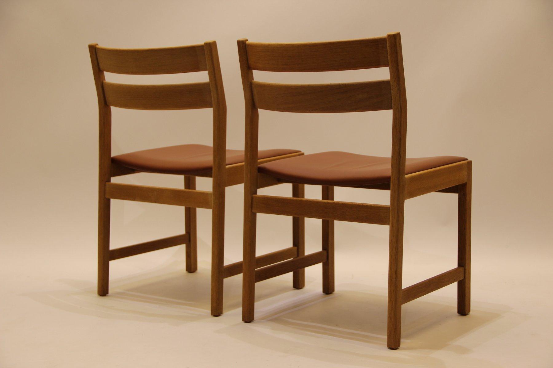 d nische vintage esszimmer st hle aus eiche braunem leder von kurt stervig f r kp m lber. Black Bedroom Furniture Sets. Home Design Ideas
