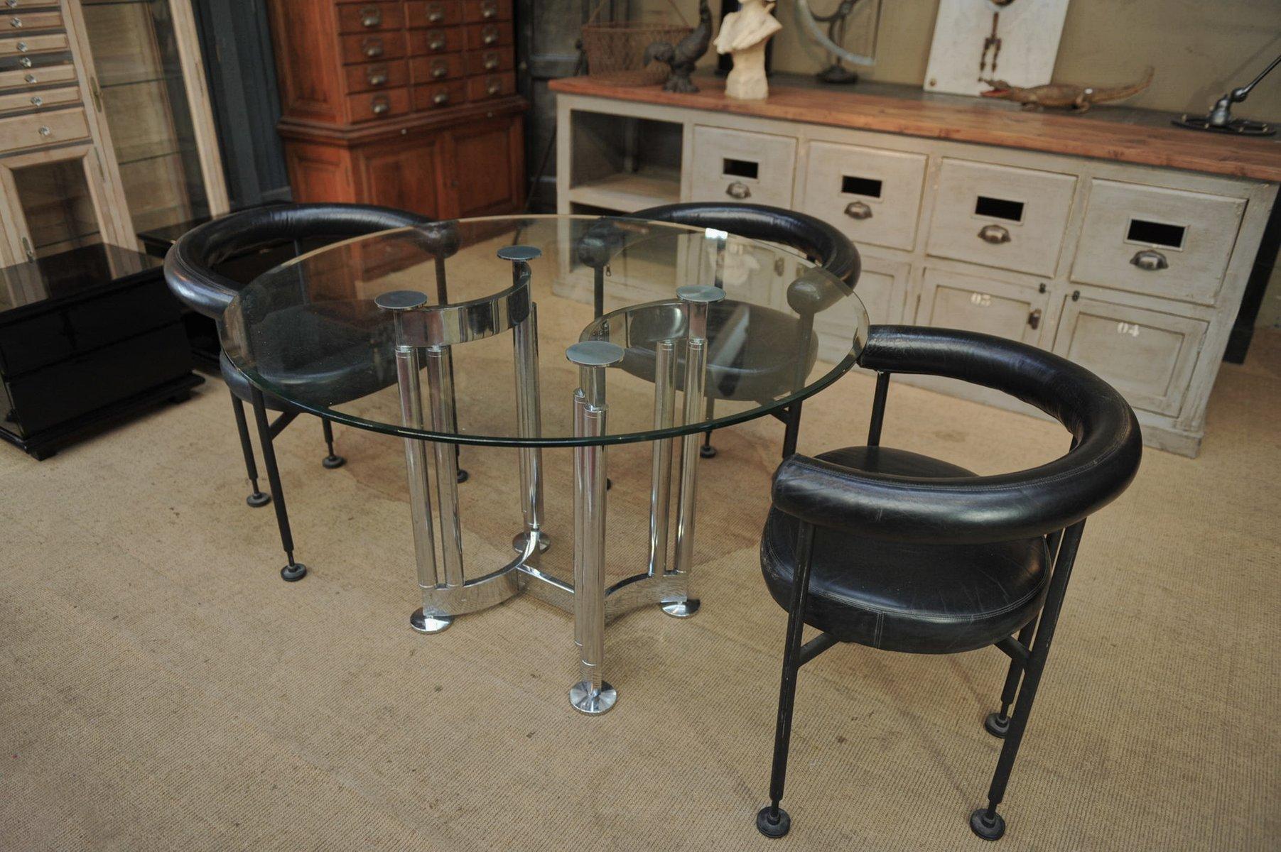 Runder verchromter tisch aus metall glas 1970er bei for Tisch aus glas