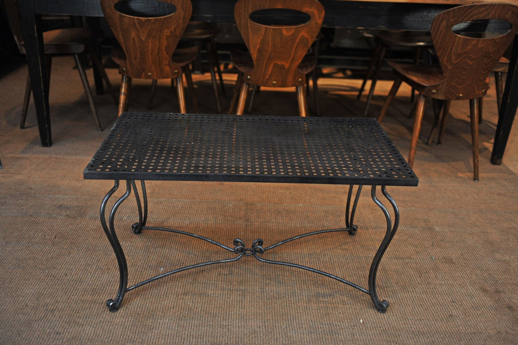 Perforated Metal Coffee Table With Forged Iron Feet 1940s