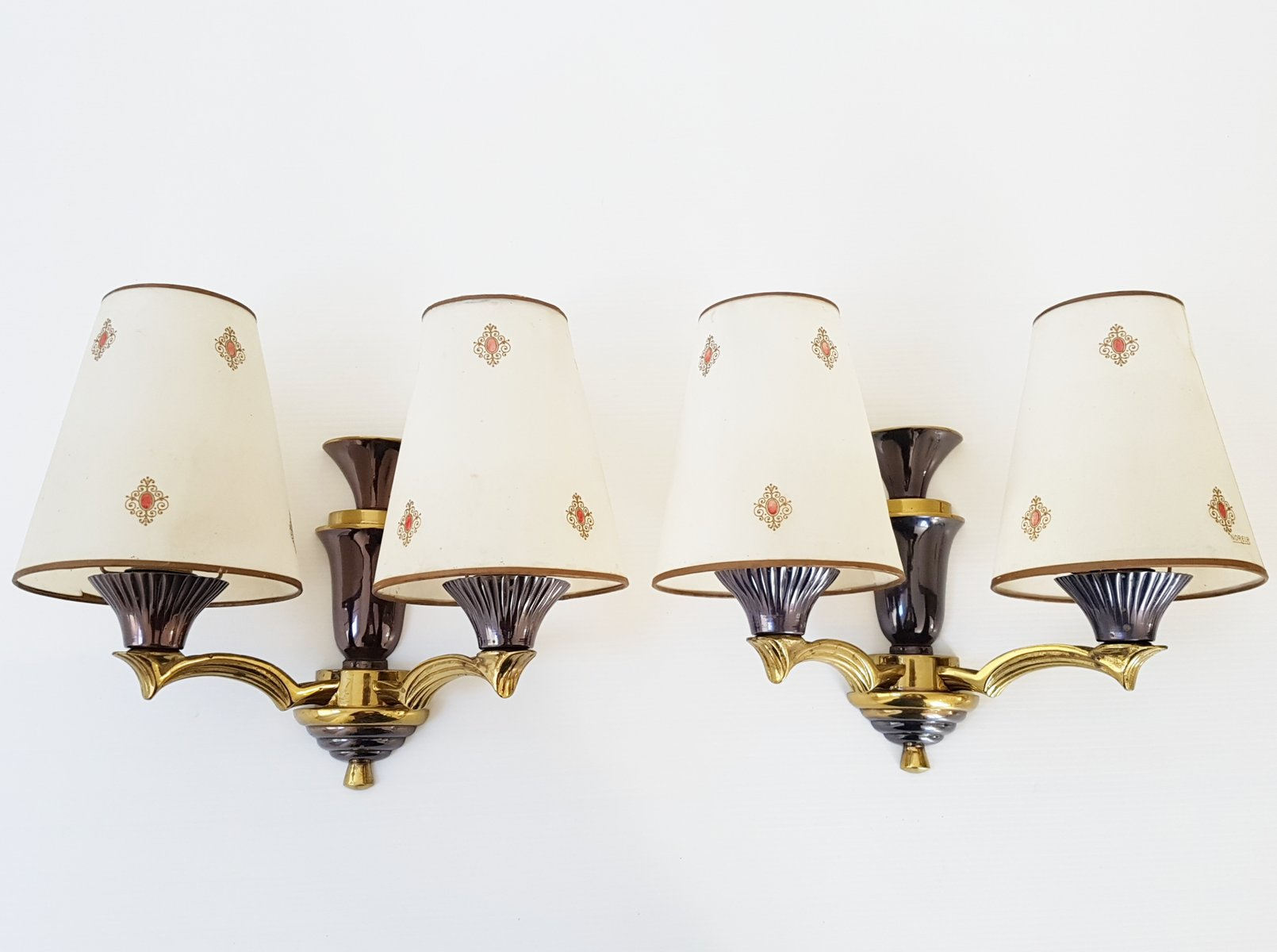 Französische Bronze Wandlampen, 1950er, 2er Set