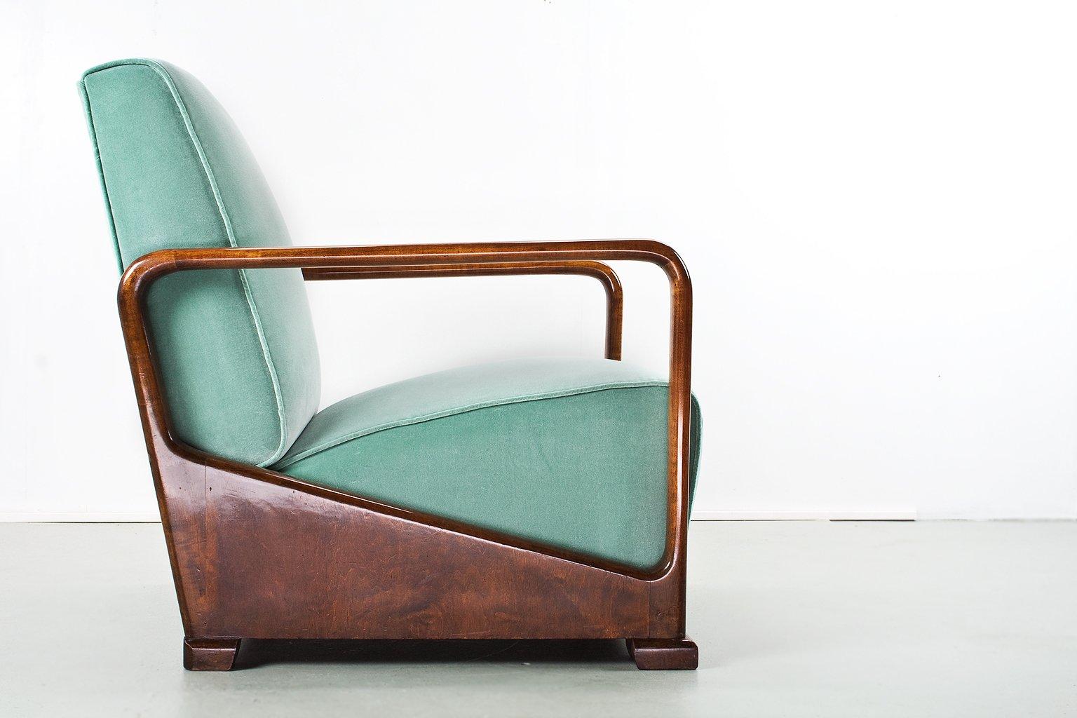 vintage art deco sessel aus ulmenholz samt bei pamono kaufen. Black Bedroom Furniture Sets. Home Design Ideas