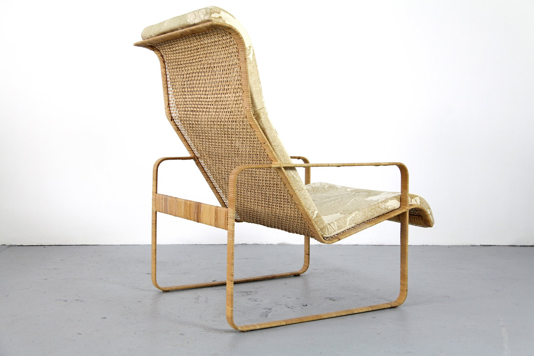 wicker lounge chair with ottoman from kill international 1970s for sale at pamono. Black Bedroom Furniture Sets. Home Design Ideas