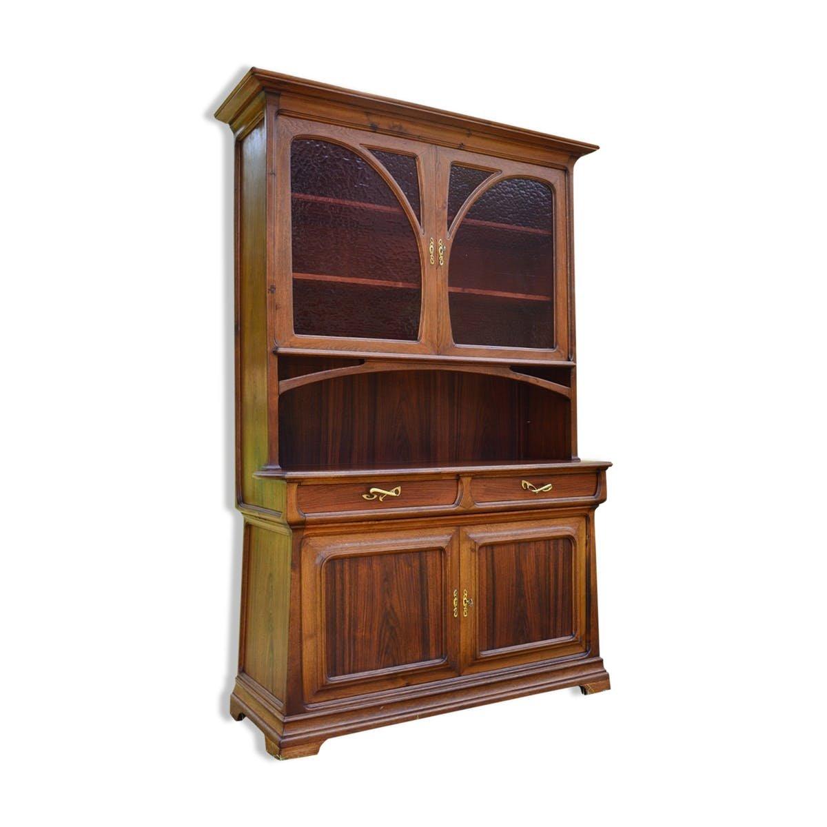 buffet art nouveau en 2 parties en ch taigner et bois exotique en vente sur pamono. Black Bedroom Furniture Sets. Home Design Ideas