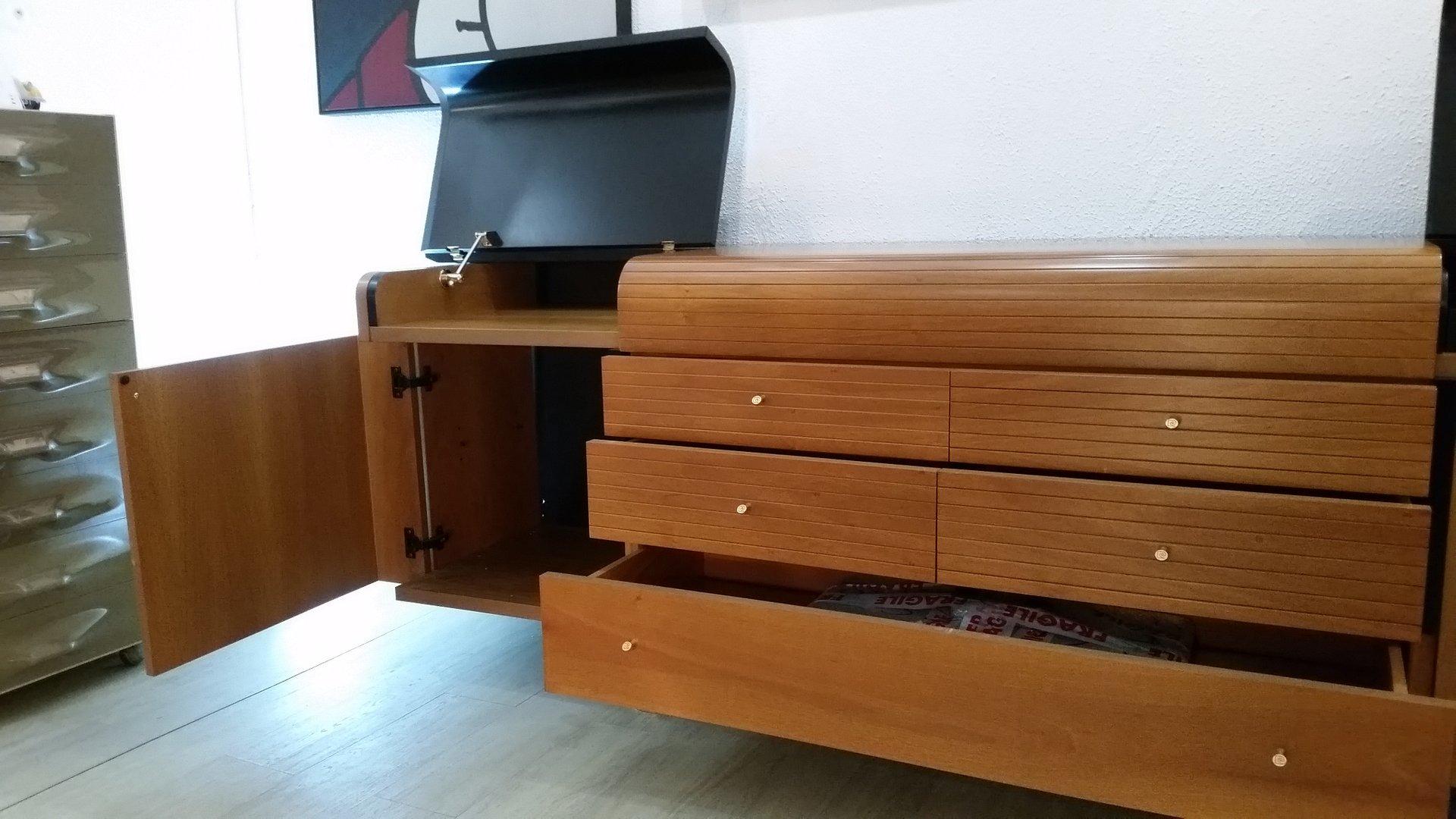 enfilade vintage en bois noir laqu et teck de pierre cardin en vente sur pamono. Black Bedroom Furniture Sets. Home Design Ideas