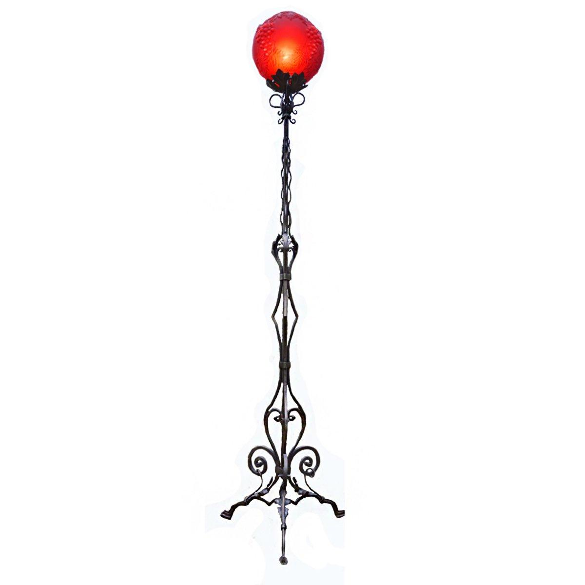 Vintage Dreibein Stehlampe aus Schmiedeeisen