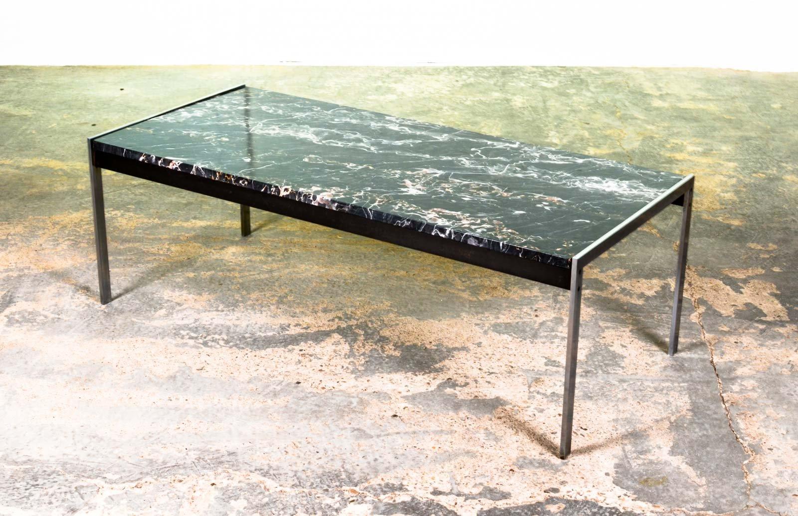 Couchtisch aus Schwarzem Marmor & Gebürstetem Stahl von Kho Liangh für...