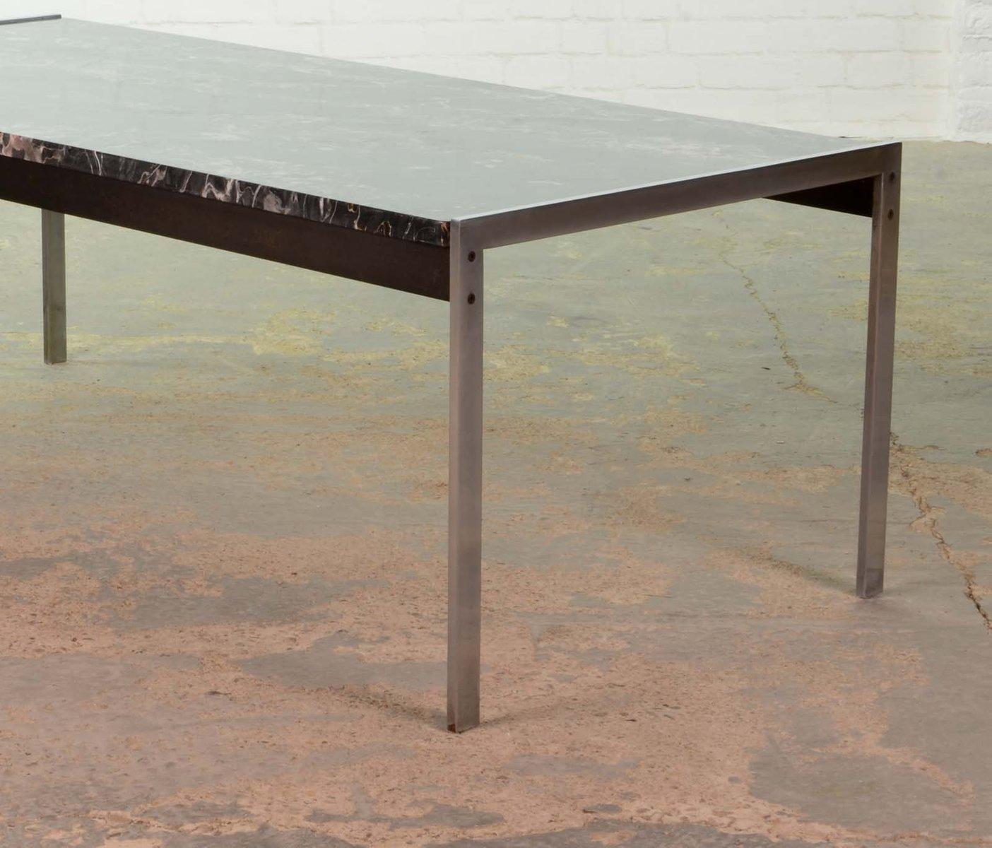 Table basse en marbre noir et acier bross par kho liangh - Table basse acier noir ...