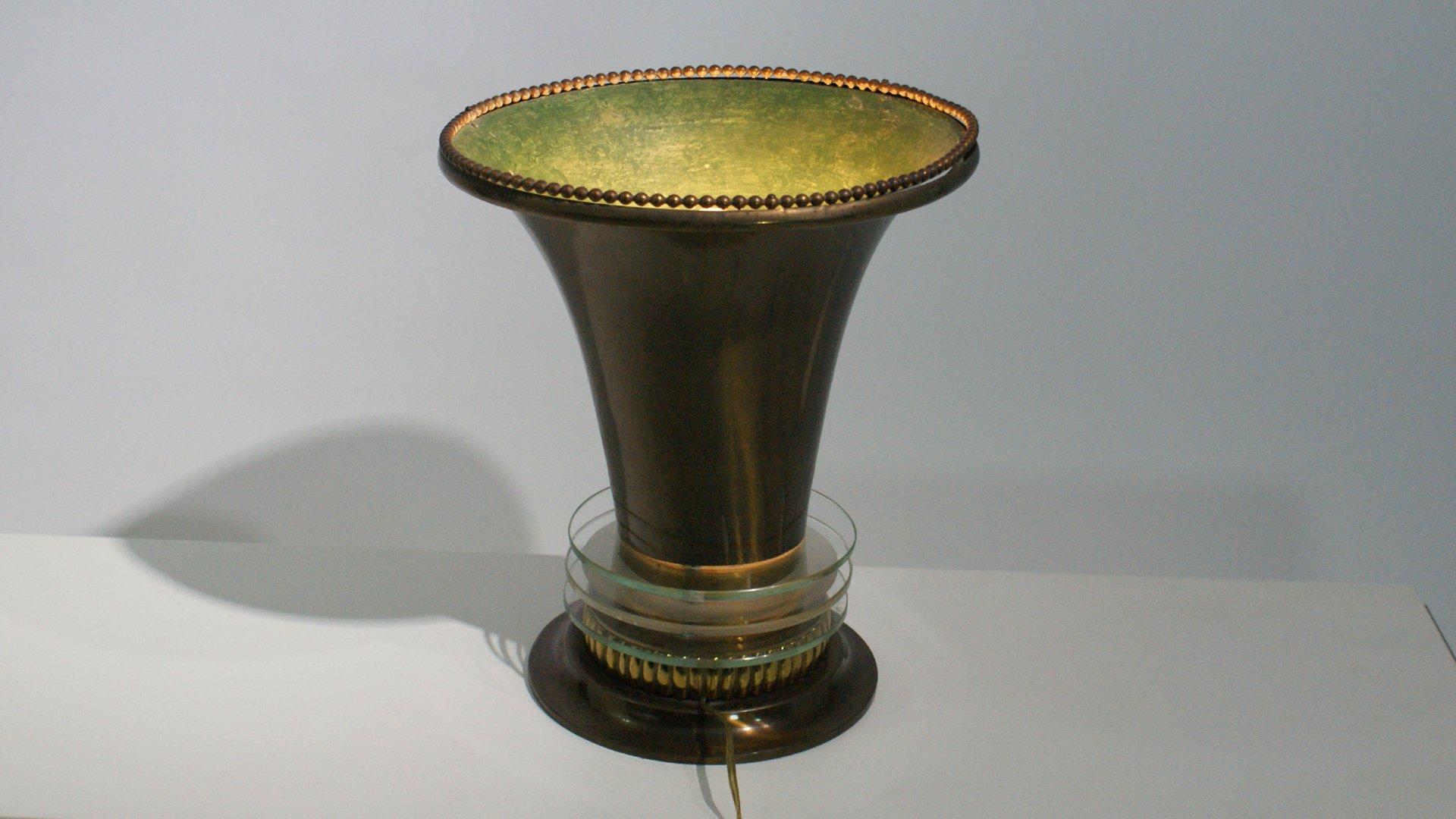 Französische Art Deco Tischlampe mit Leuchte aus Bronze & Glas Element...