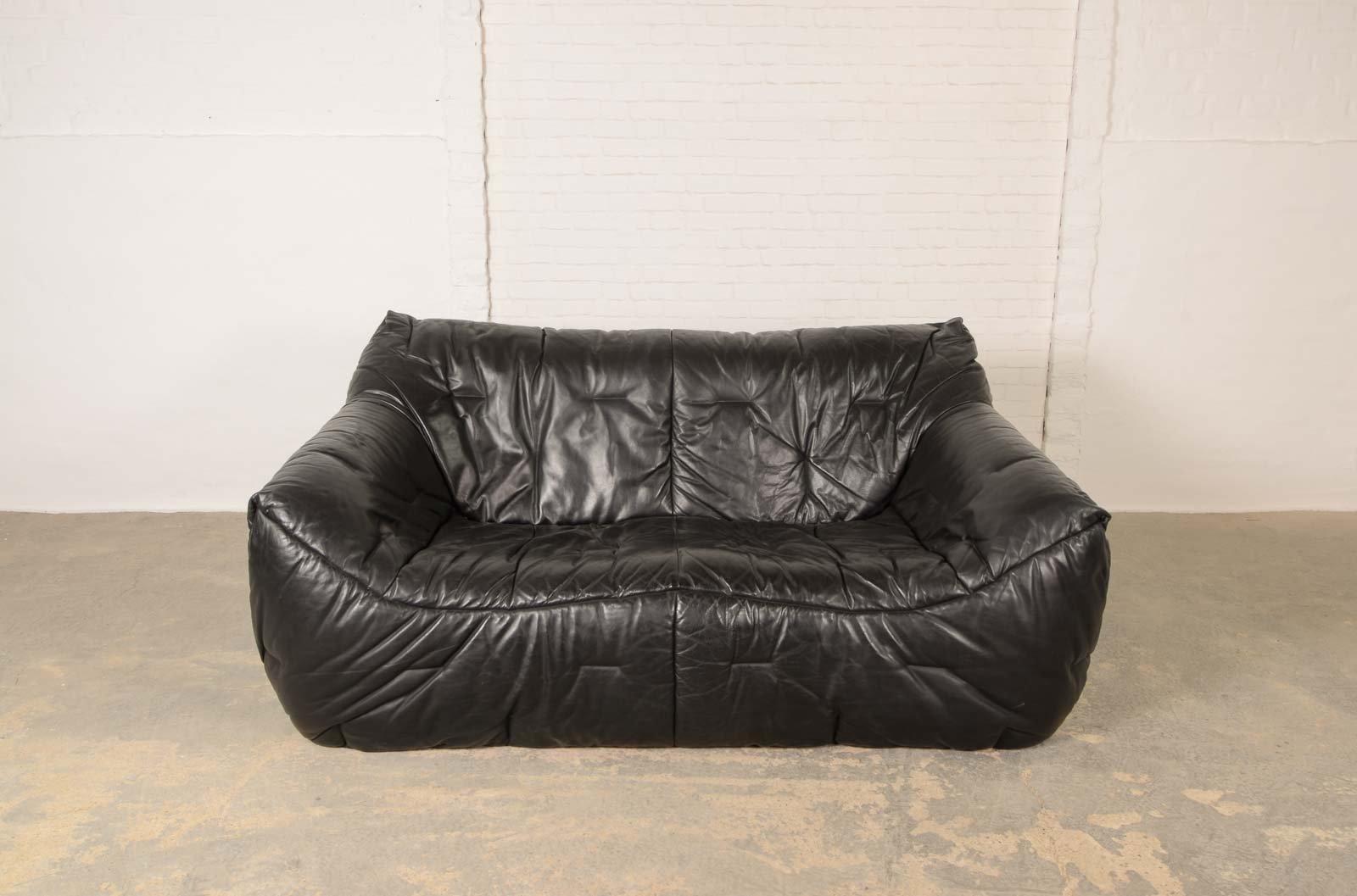 Schwarzes vintage leder sofa aus weichem schaumstoff von hans hopfer