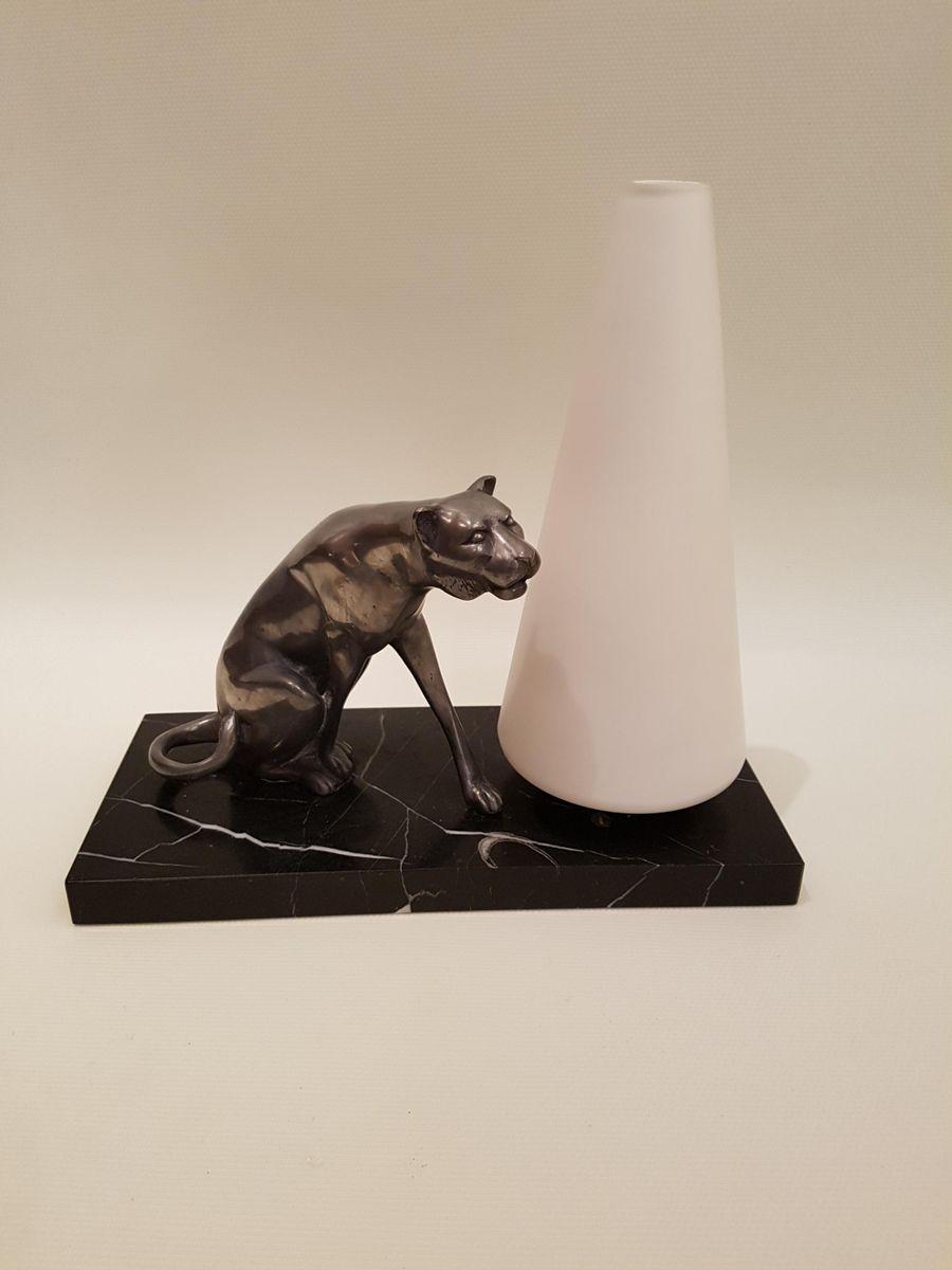 Tischlampe mit Wildkatze Skulptur, 1940er
