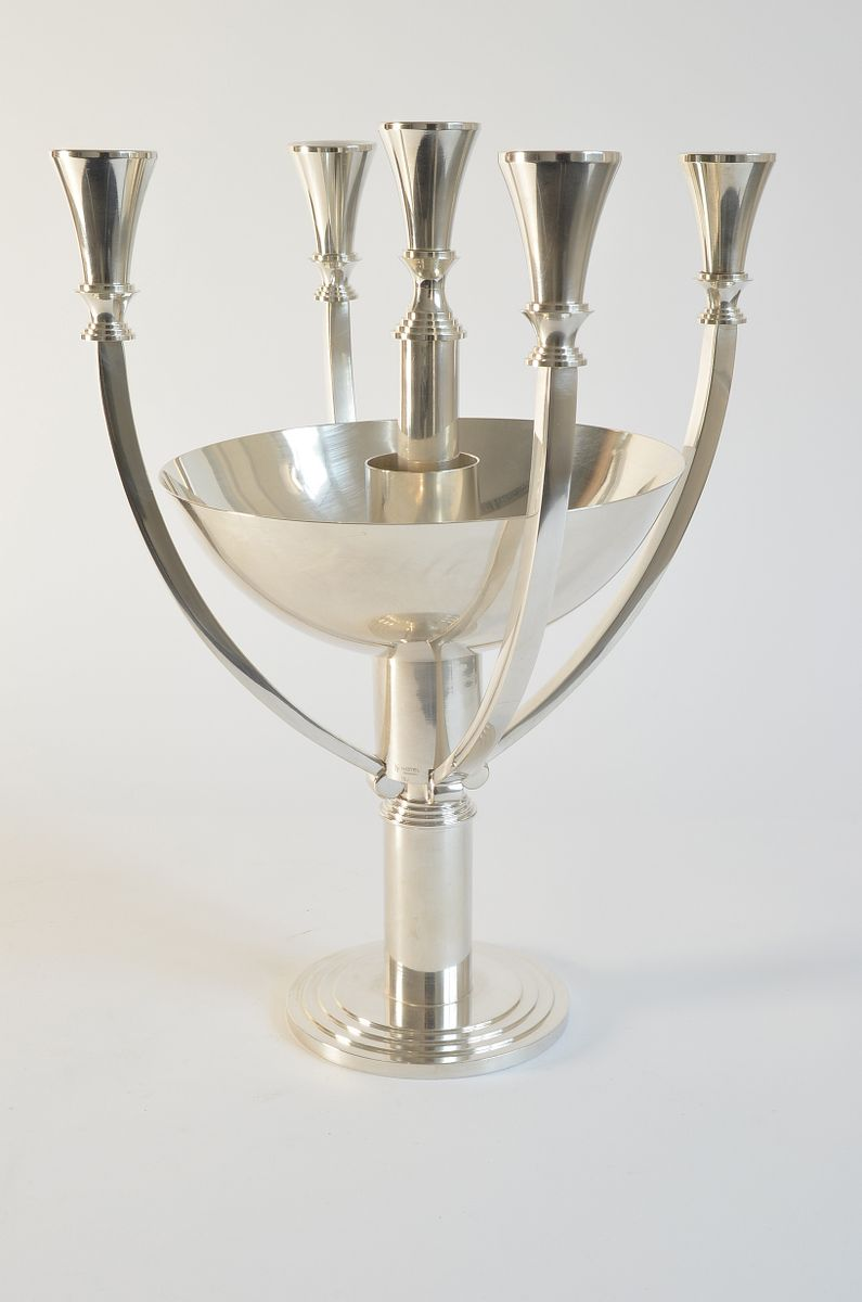 Versilberter Art Deco Kerzenständer mit 5 Leuchten & Obstschale von WM...