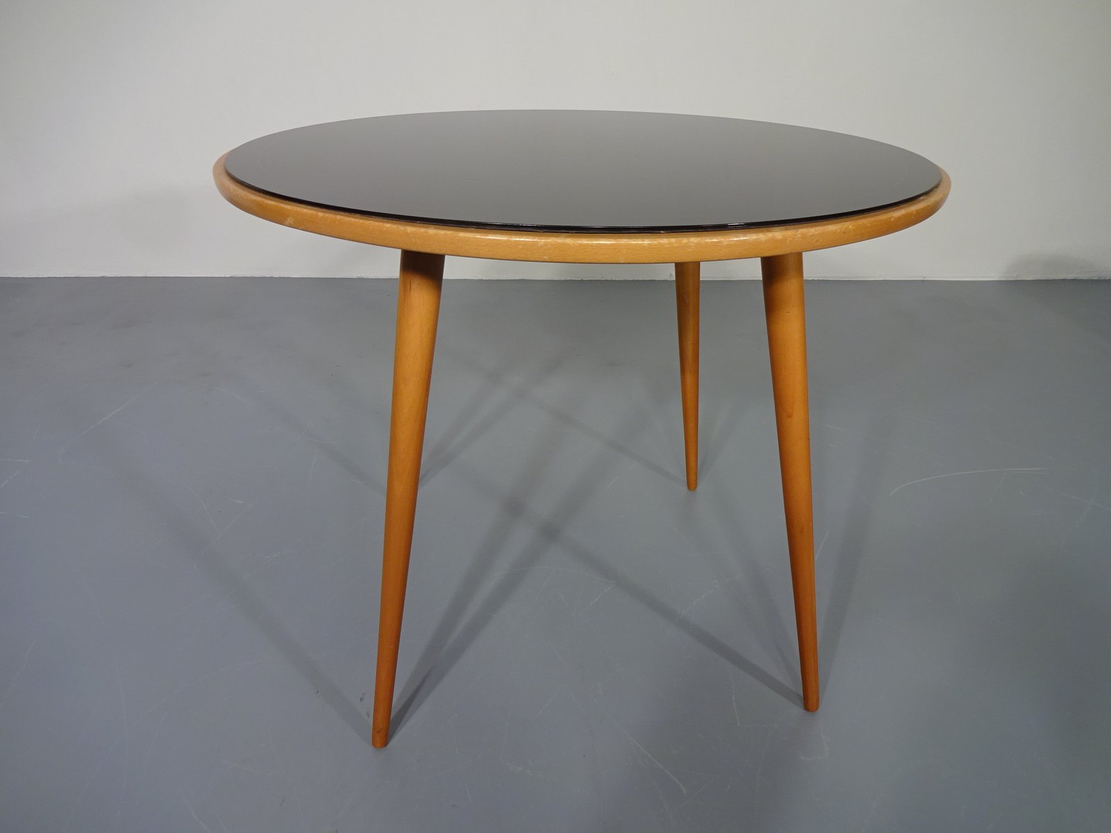 table en verre merisier 1960s en vente sur pamono. Black Bedroom Furniture Sets. Home Design Ideas