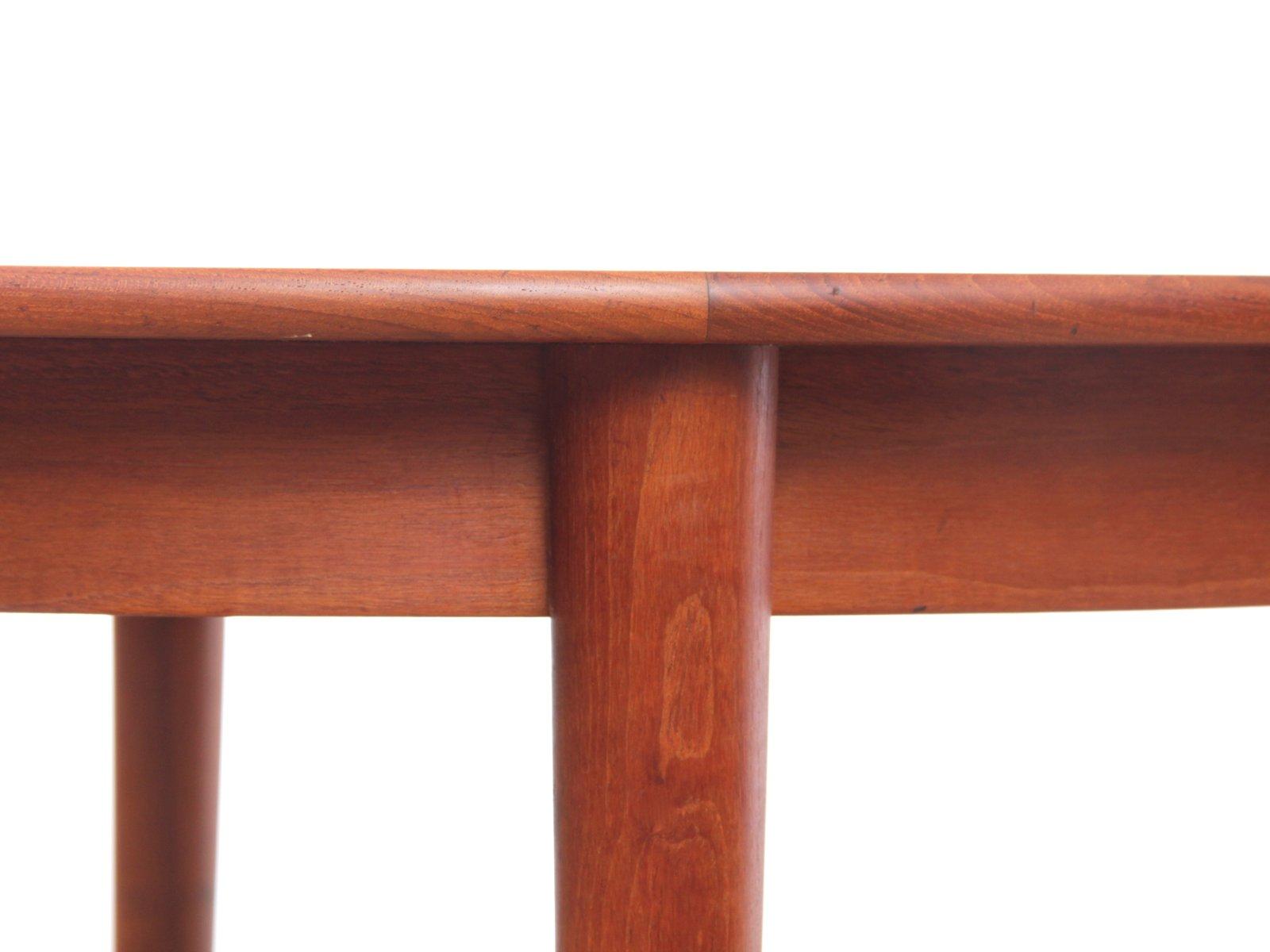 runder esstisch aus teak 1950er bei pamono kaufen. Black Bedroom Furniture Sets. Home Design Ideas