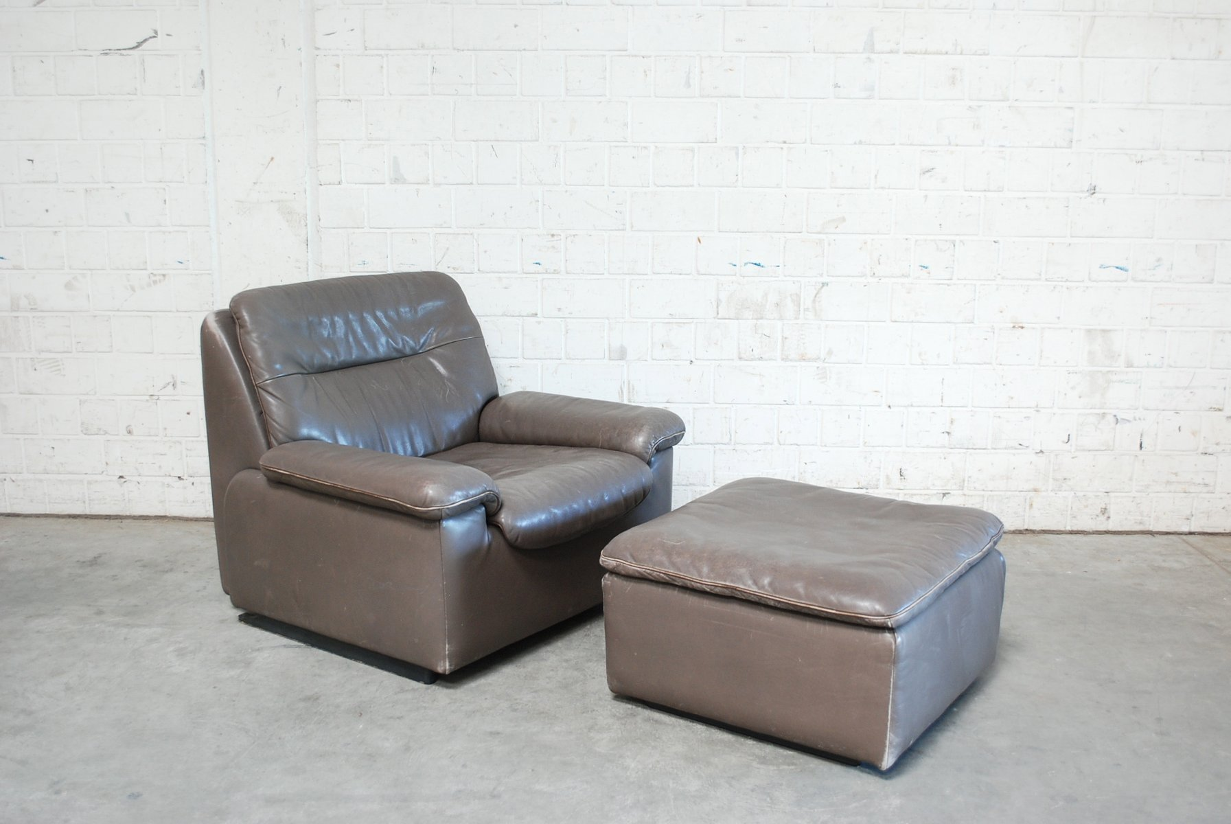 Swiss Grey Leather Lounge Chair U0026 Ottoman From De Sede, 1980s